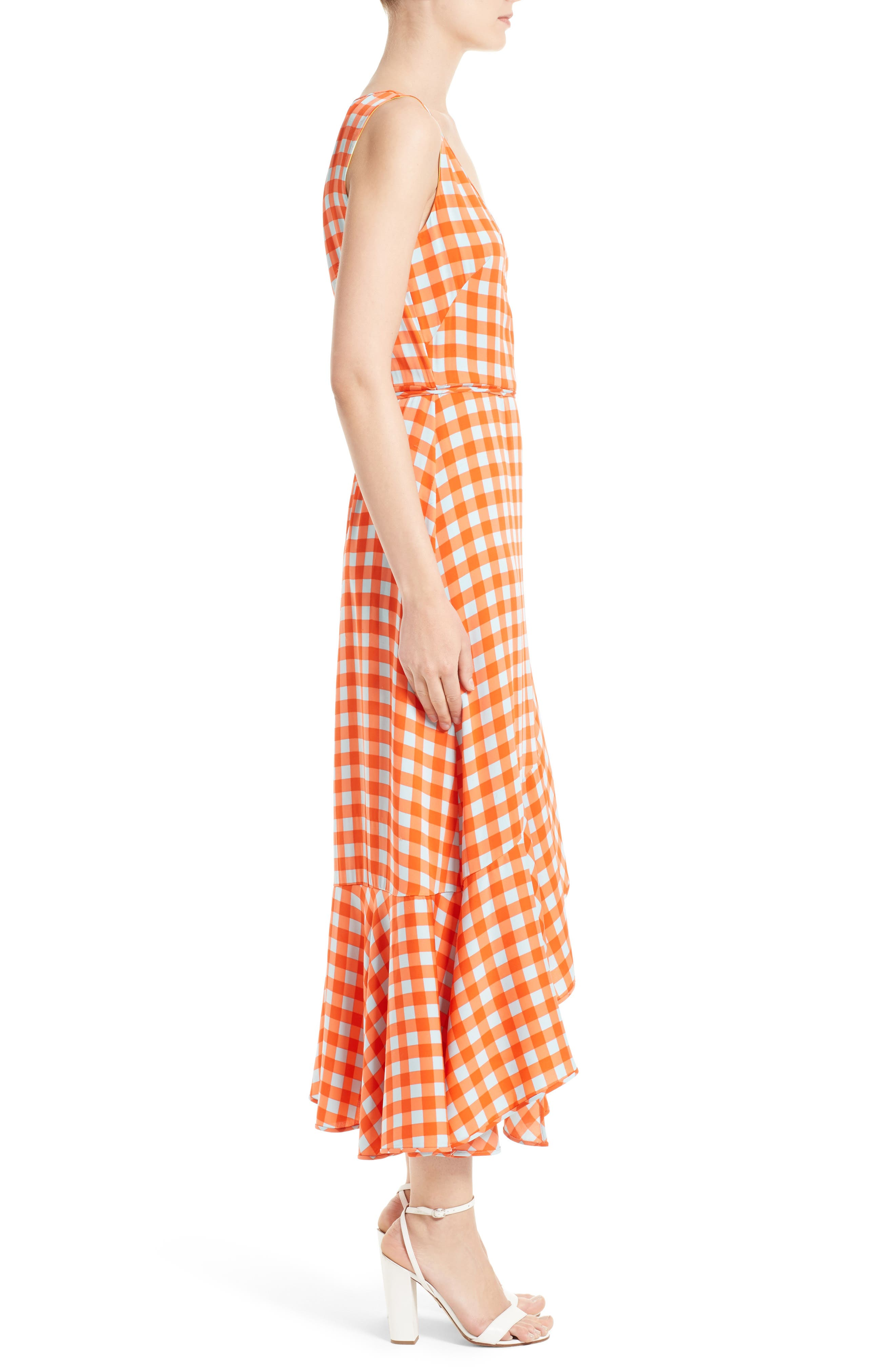 Check Ruffle Hem Wrap Dress,                             Alternate thumbnail 3, color,