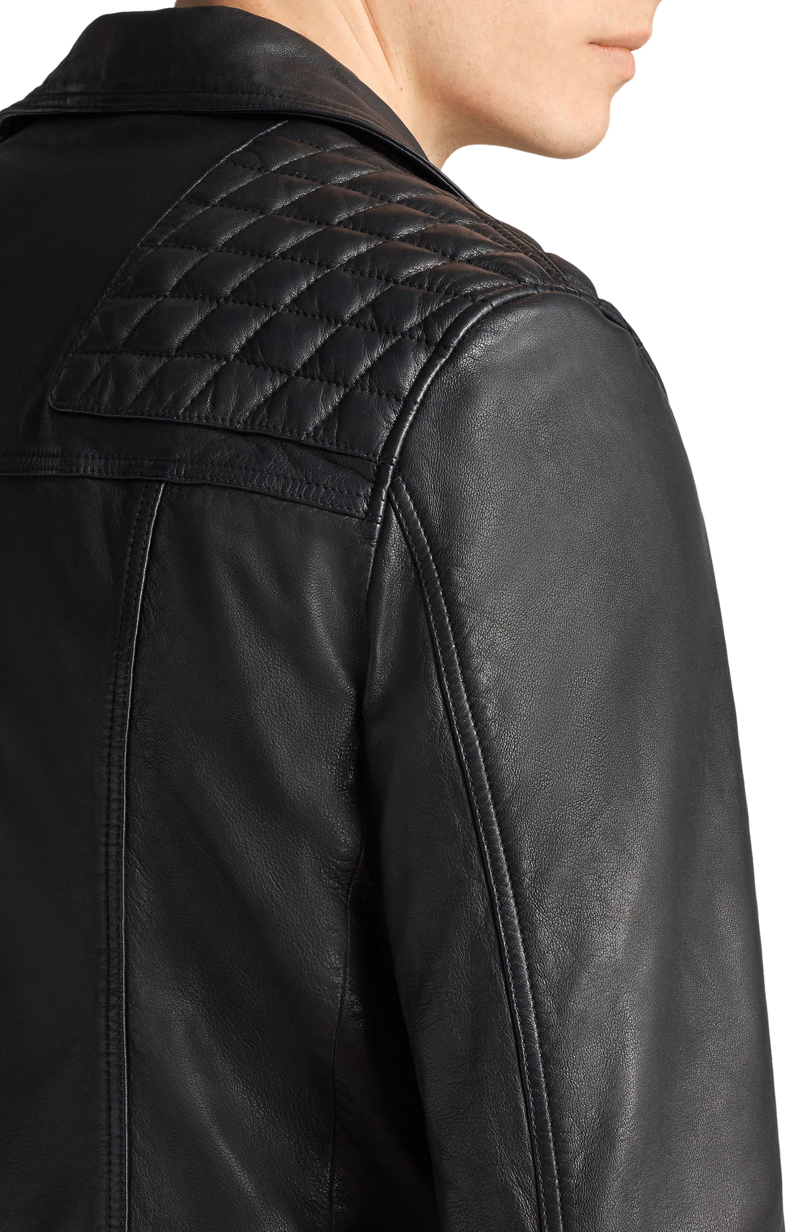 Taro Slim Fit Leather Biker Jacket,                             Alternate thumbnail 7, color,                             001