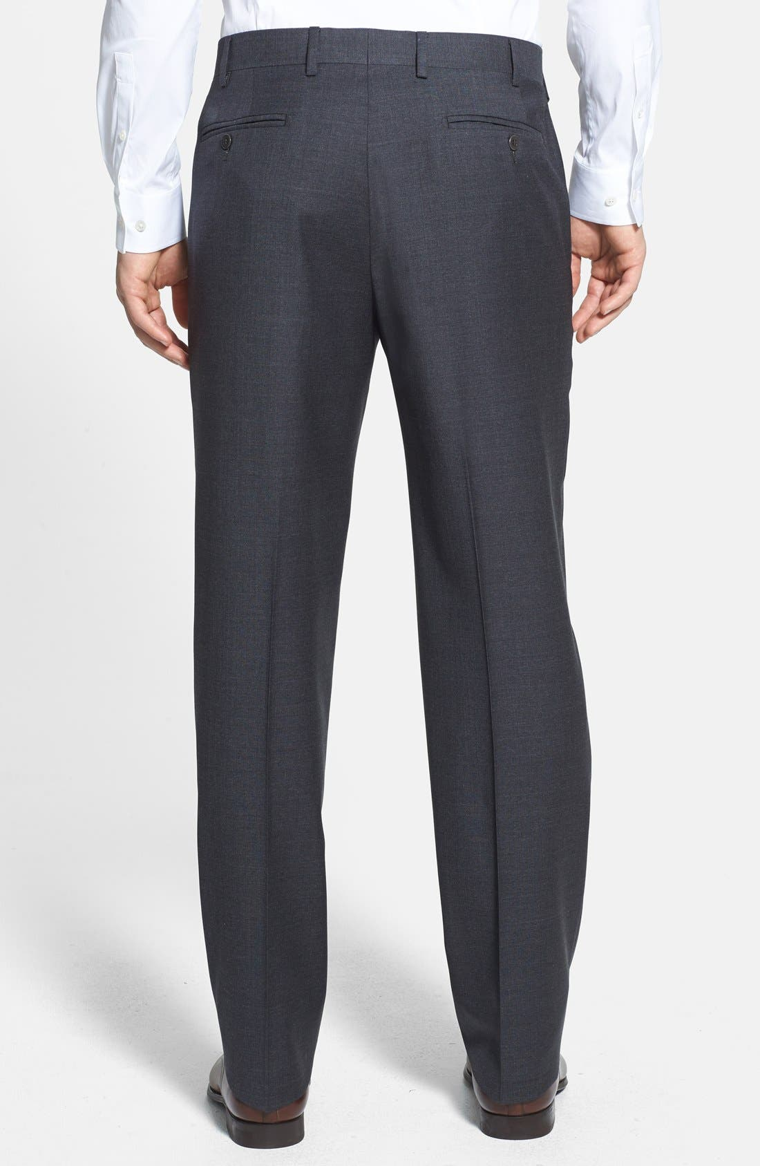 'Devon' Flat Front Wool Trousers,                             Alternate thumbnail 13, color,