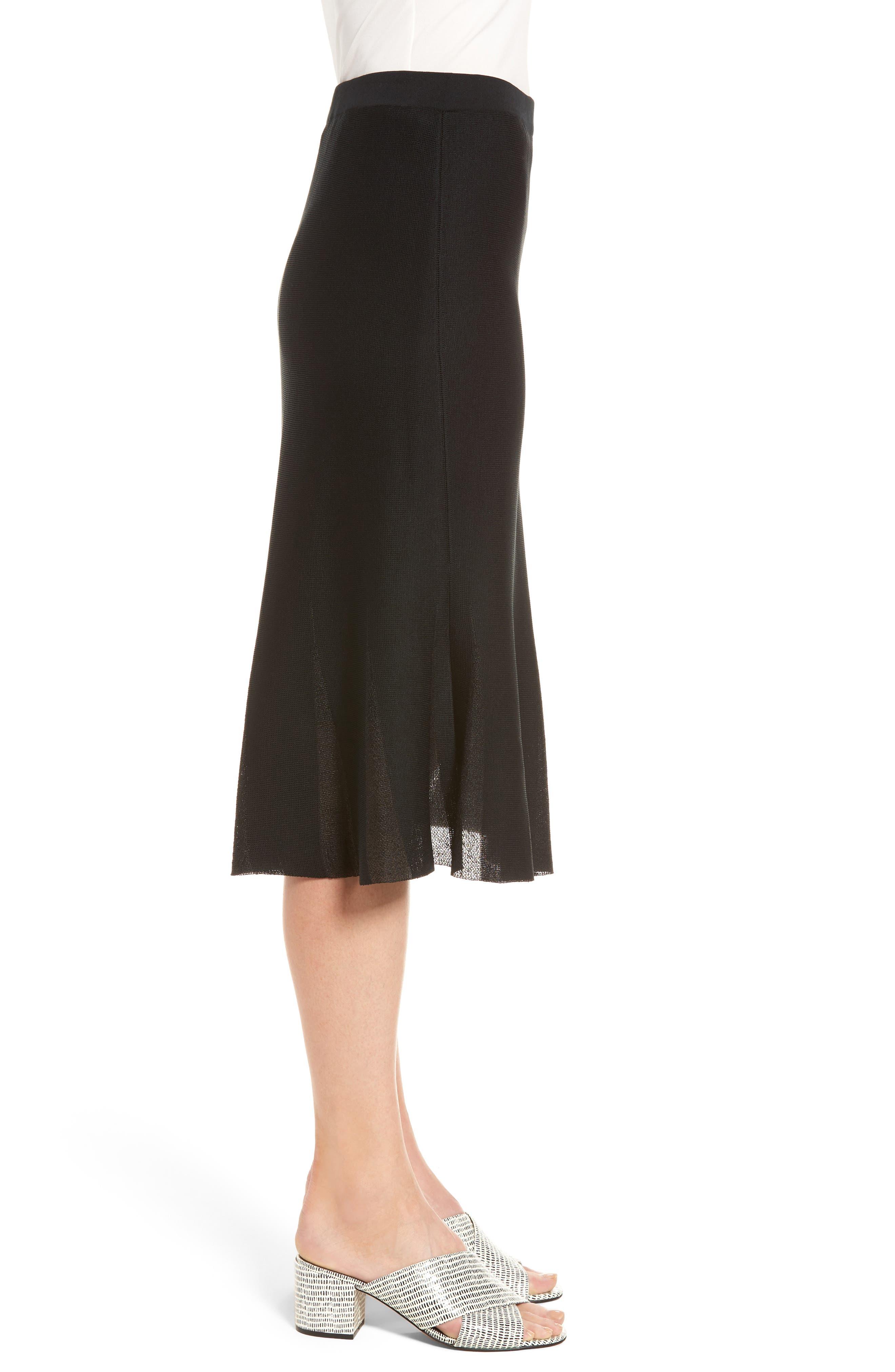 Knit Flared Skirt,                             Alternate thumbnail 3, color,                             BLACK