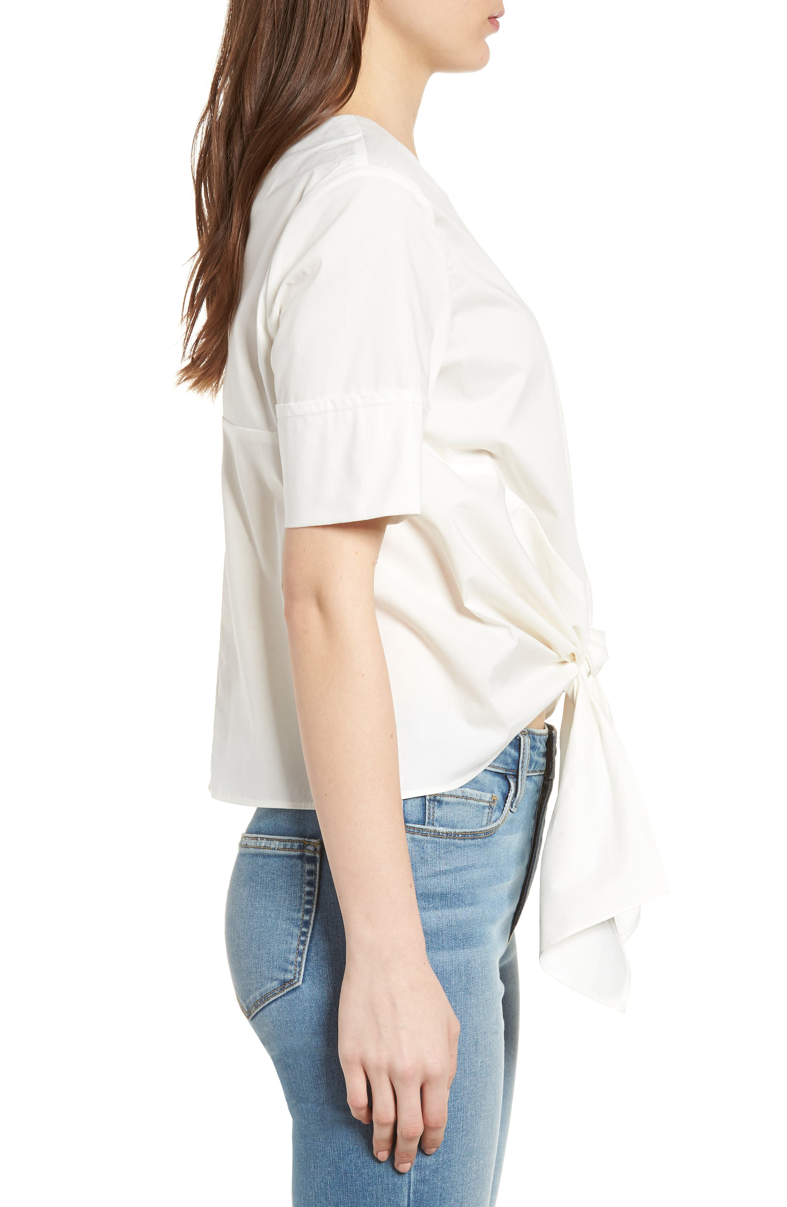 Bishop + Young Front Tie Blouse,                             Alternate thumbnail 3, color,                             WHITE