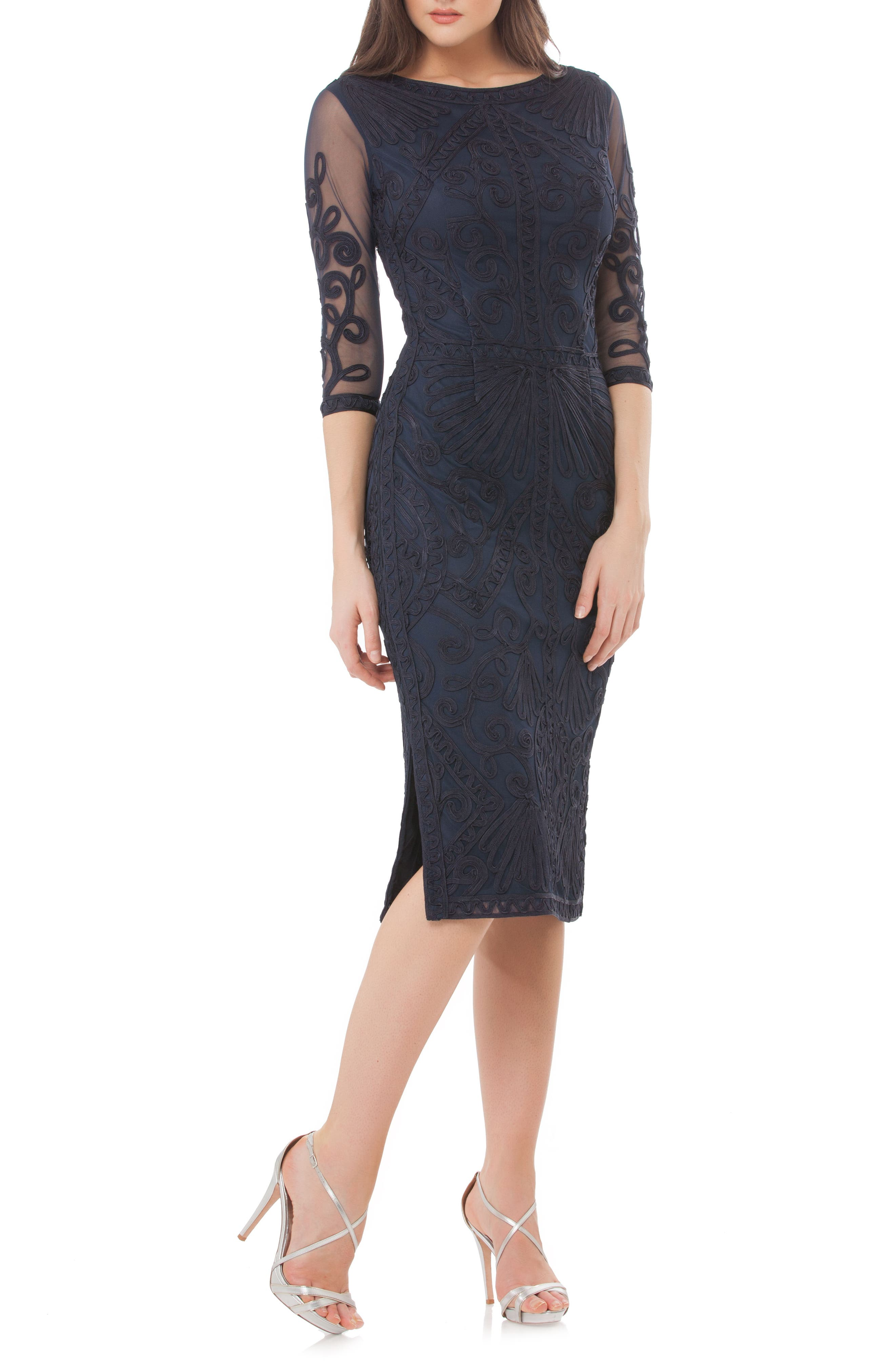 JS COLLECTIONS Sheer Sleeve Soutache Sheath Dress, Main, color, NAVY