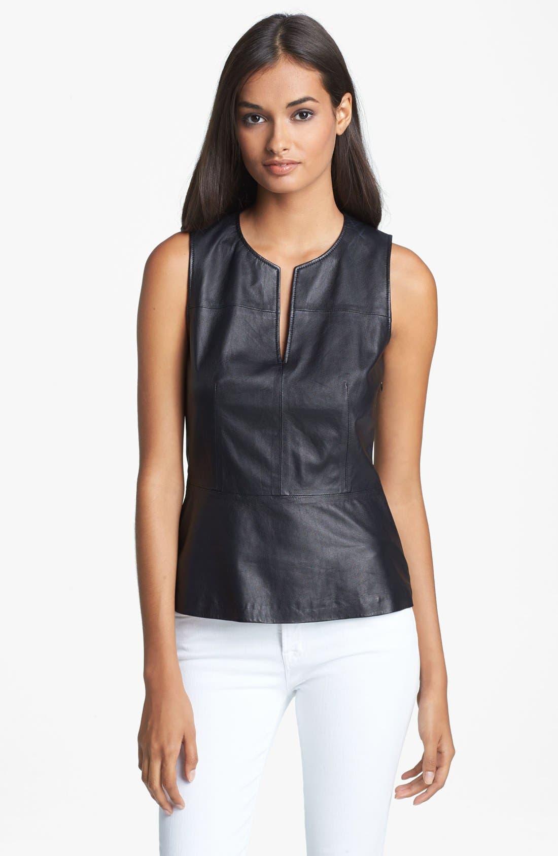 'Etia L.' Leather Top, Main, color, 001