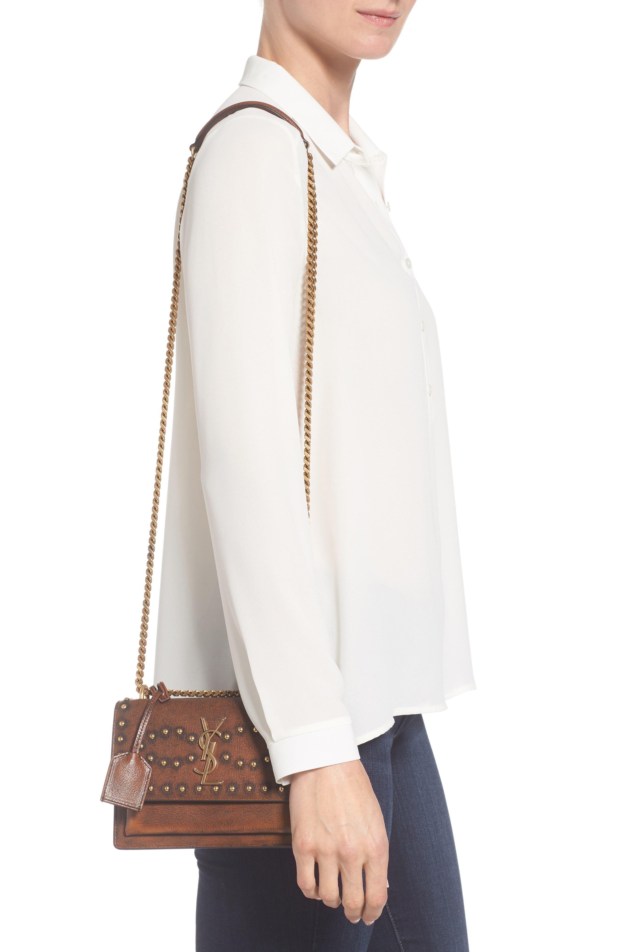 Small Sunset Studded Vintage Leather Shoulder Bag,                             Alternate thumbnail 2, color,                             979