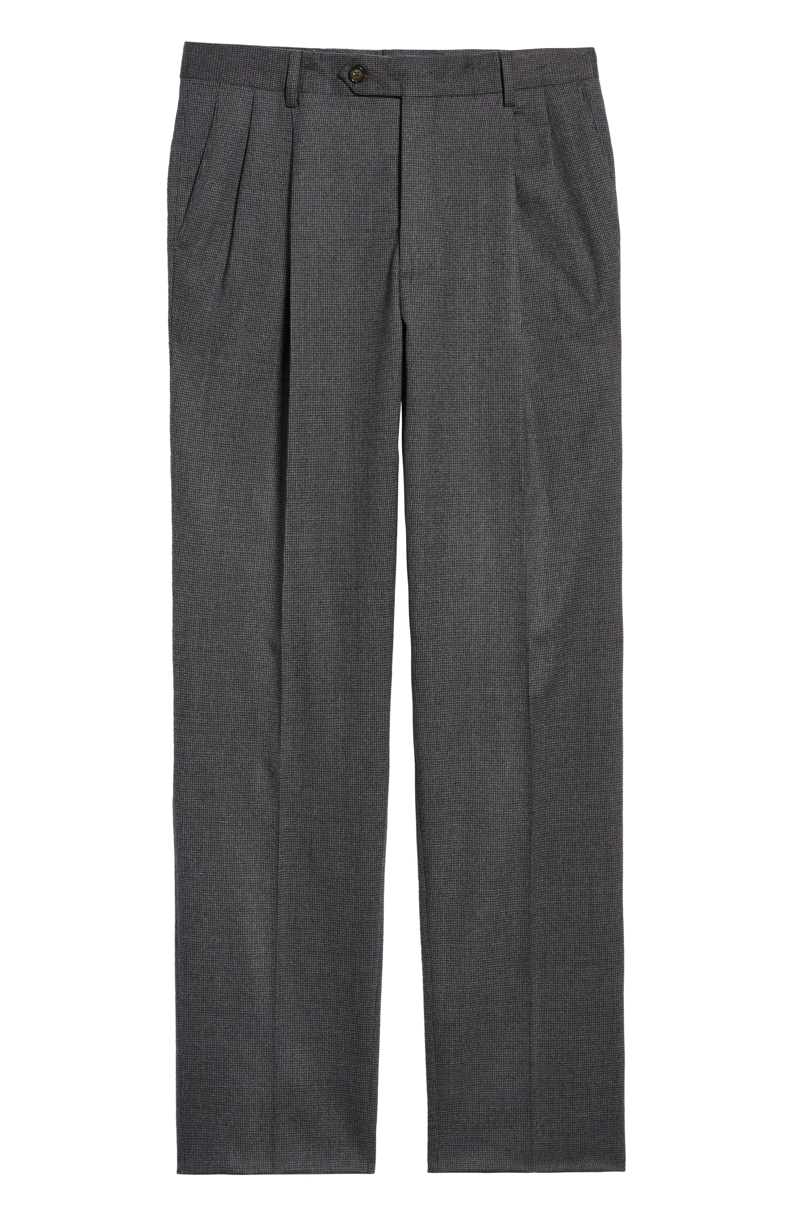 Pleated Stretch Houndstooth Wool Trousers,                             Alternate thumbnail 6, color,                             GREY
