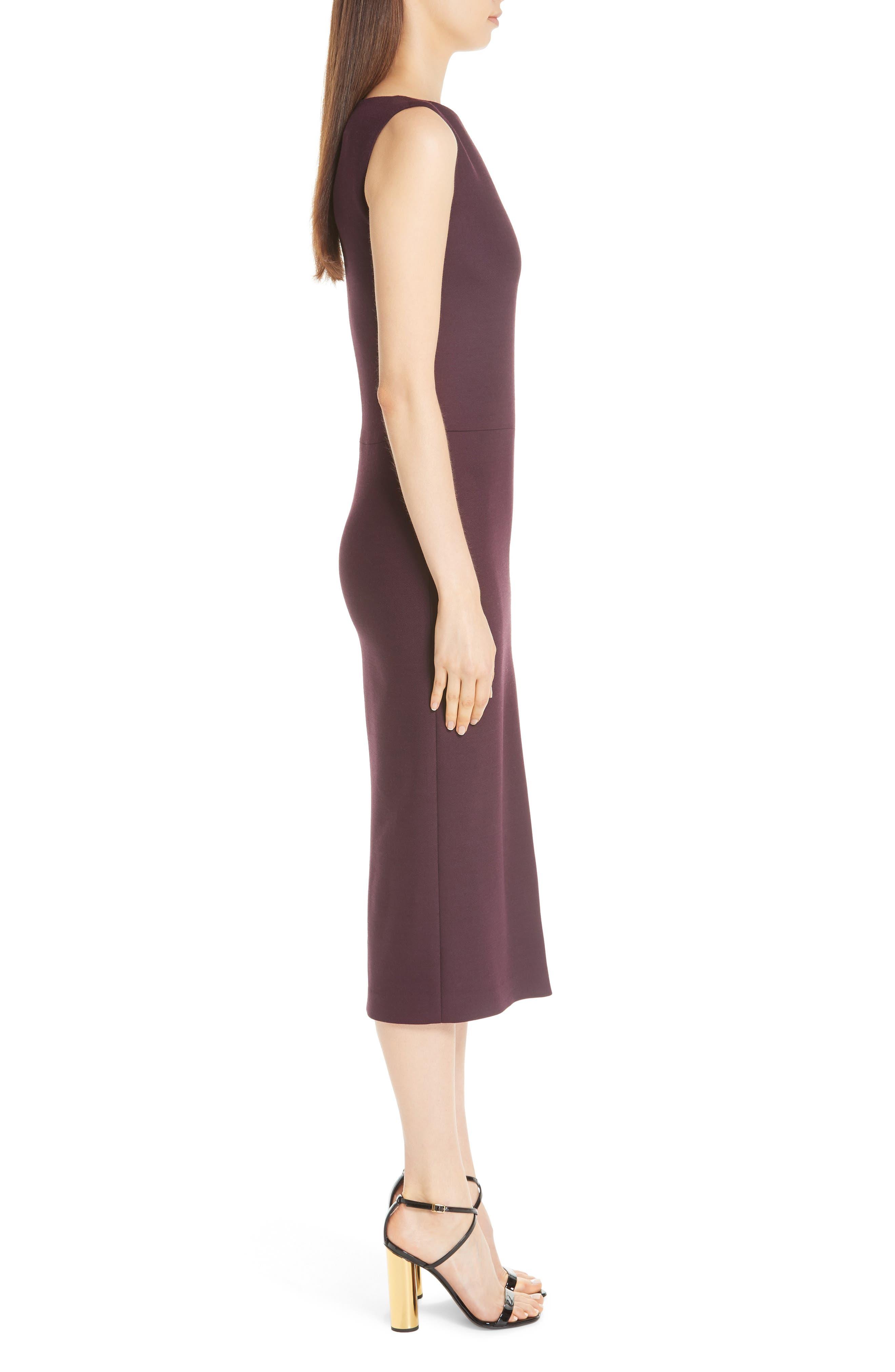 ADAM LIPPES,                             Double Face Wool Sheath Dress,                             Alternate thumbnail 3, color,                             BURGUNDY/ PINK