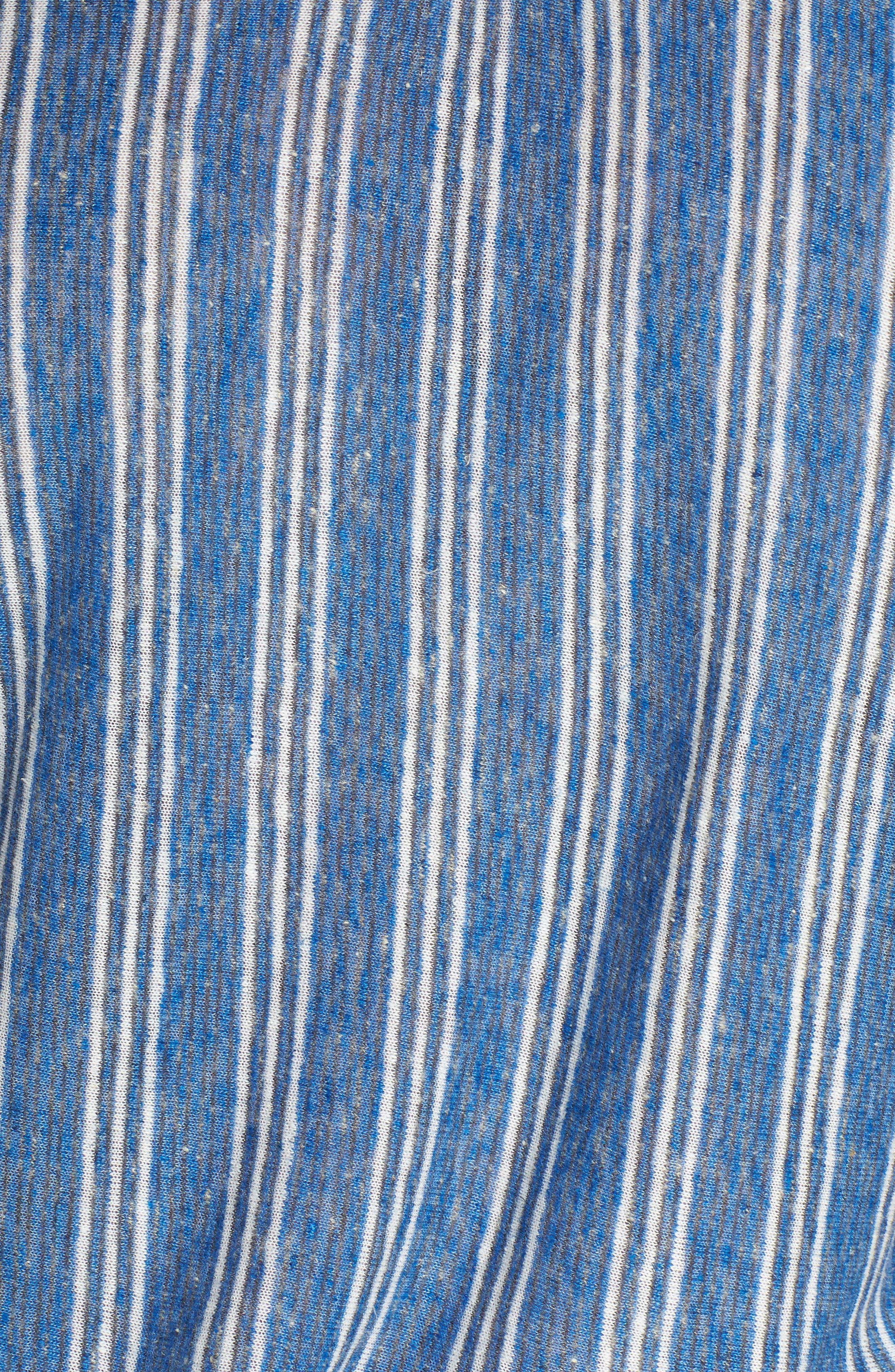Stripe Tie Shoulder Linen Blend Tee,                             Alternate thumbnail 6, color,                             460