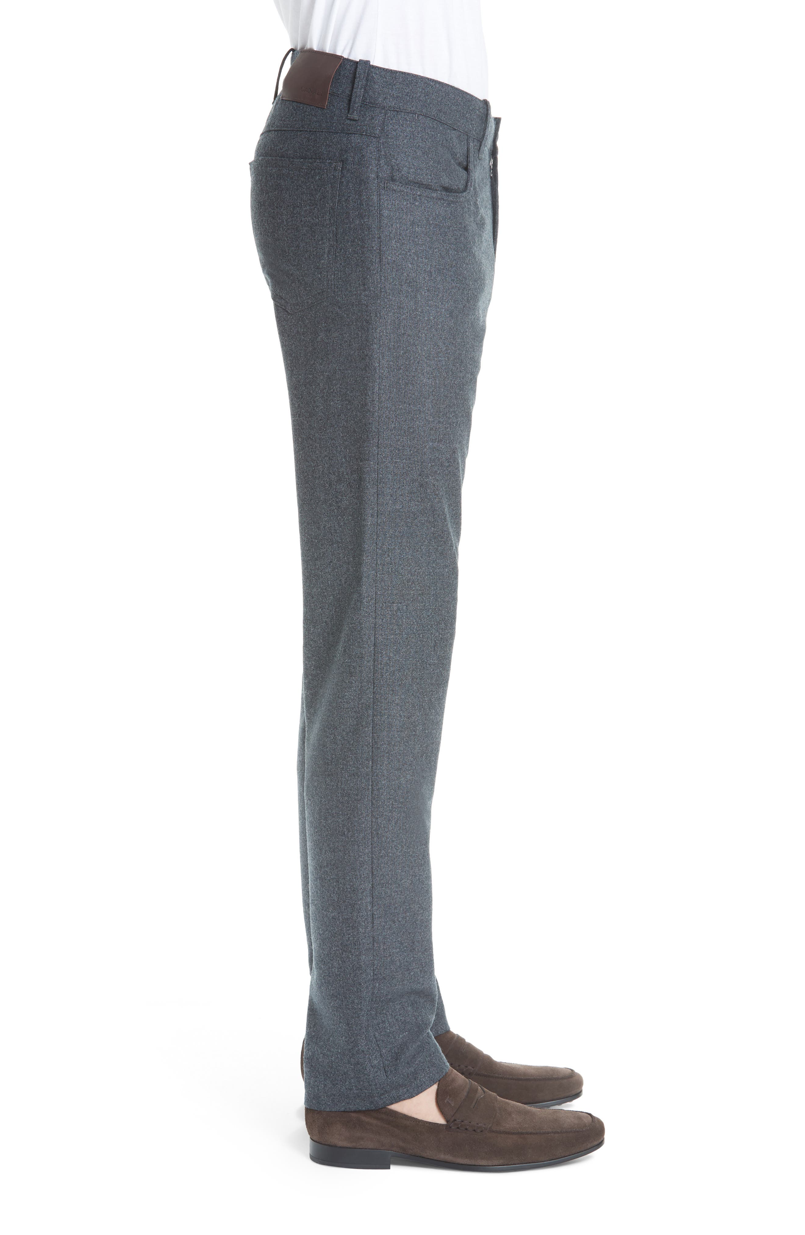 Flat Front Flannel Wool Five-Pocket Trousers,                             Alternate thumbnail 3, color,                             CHARCOAL
