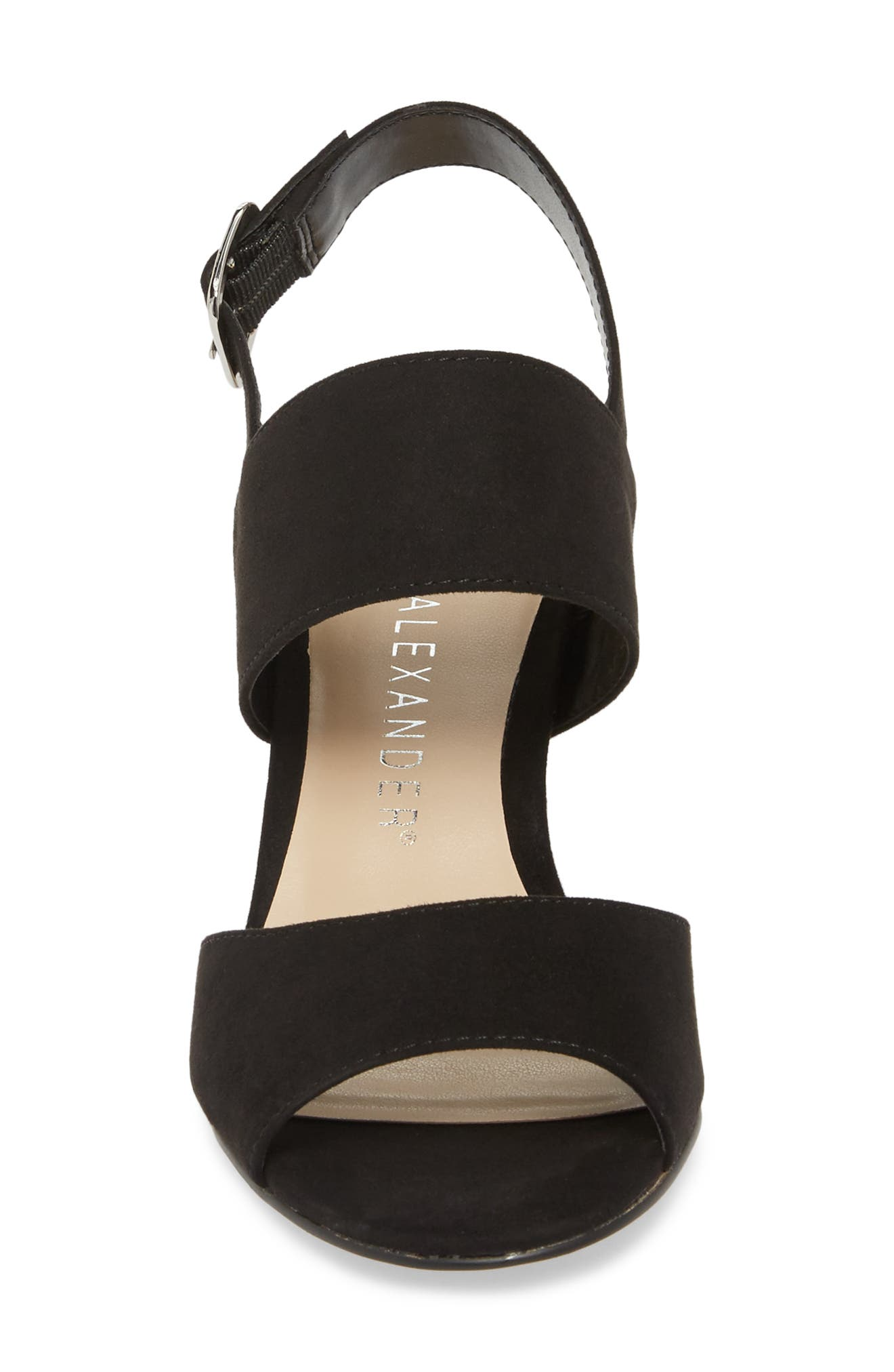 Slayte Wedge Sandal,                             Alternate thumbnail 4, color,                             BLACK FAUX SUEDE