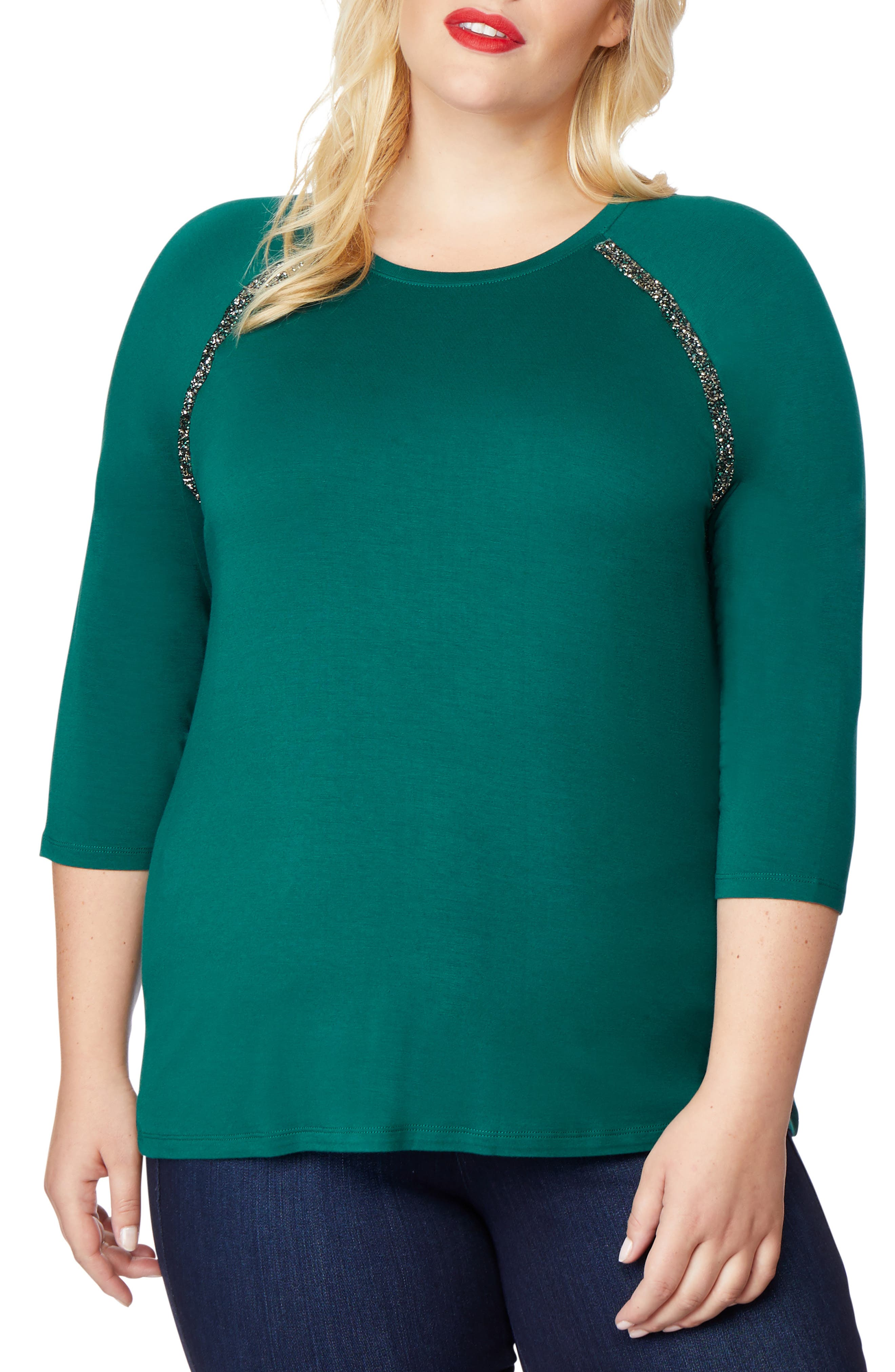 Embellished Raglan Tee,                         Main,                         color, BOTANICAL GREEN
