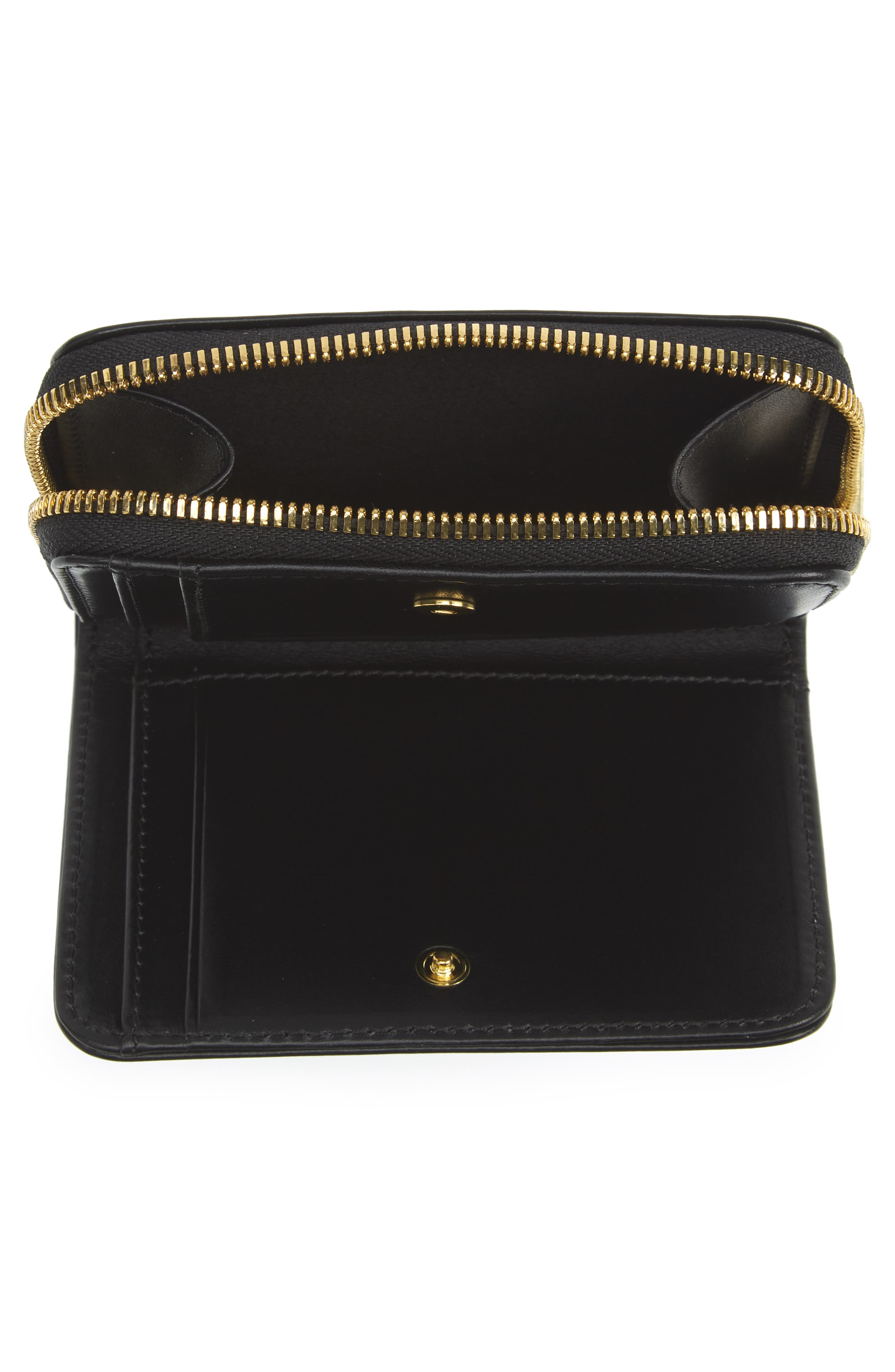 Compact Leather Wallet,                             Alternate thumbnail 2, color,                             NOIR