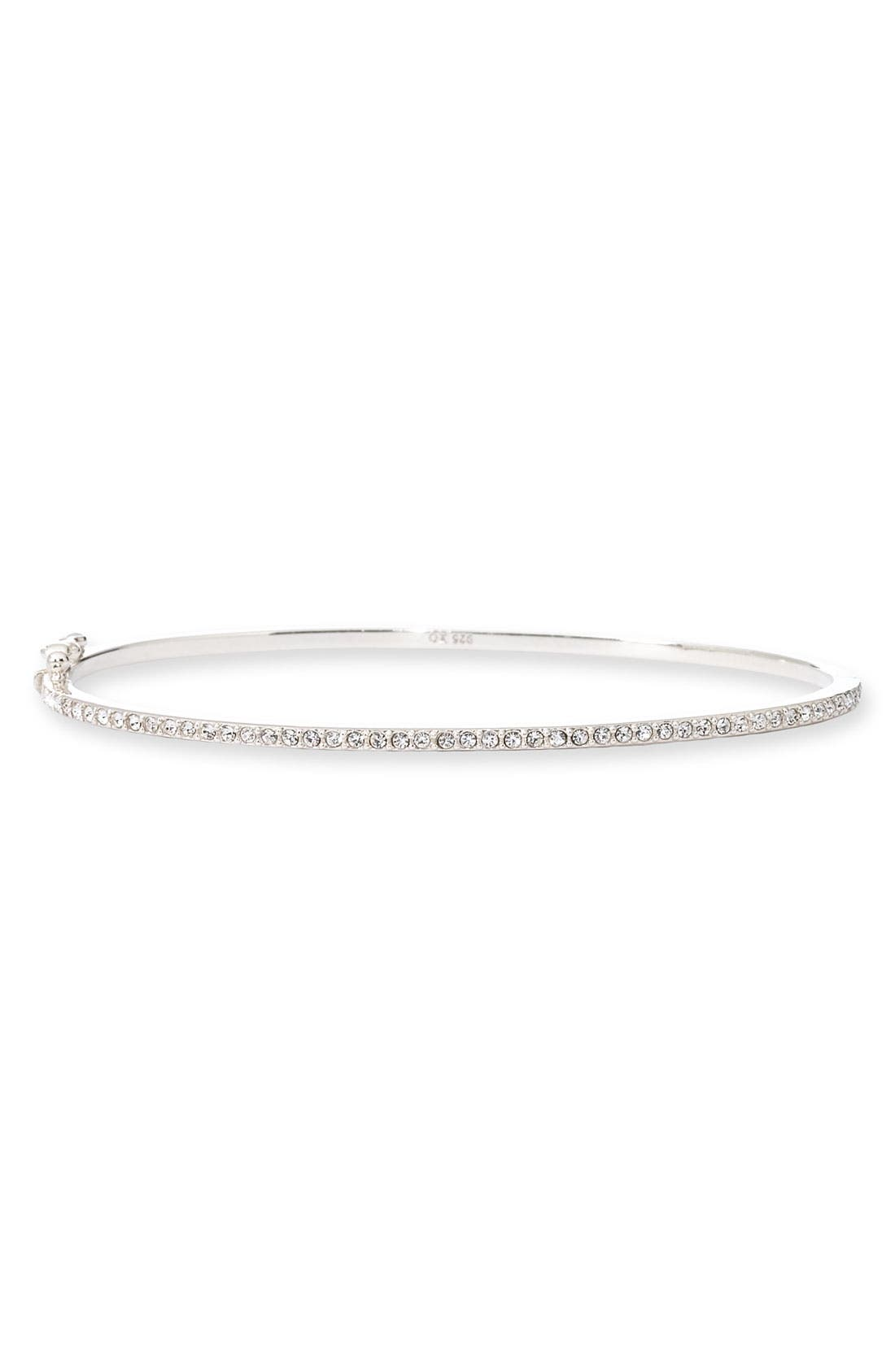 Boxed Skinny Pavé Hinge Bangle, Main, color, CUBIC ZIRCONIA
