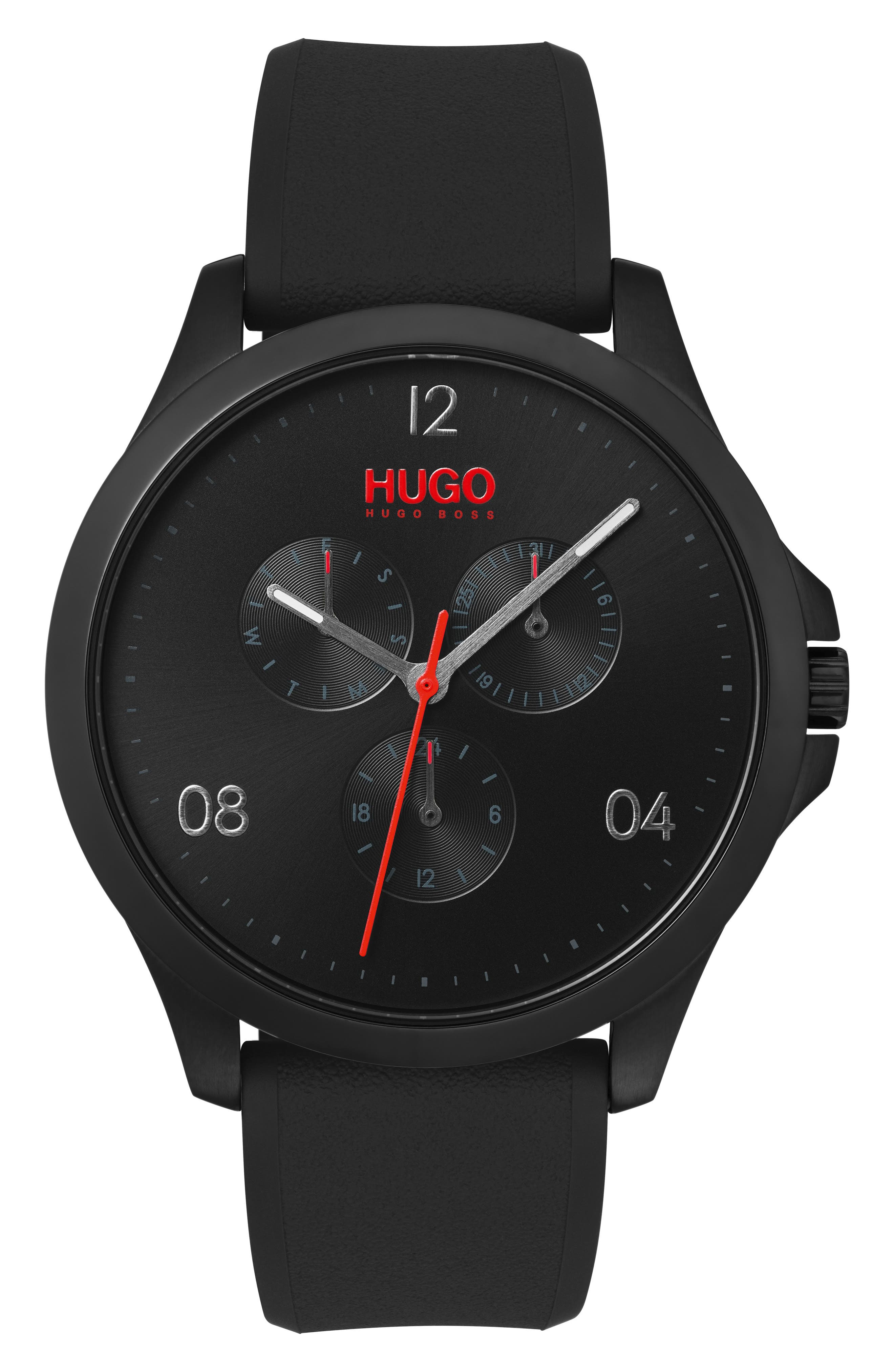 Risk Chronograph Silicone Strap Watch, 41mm,                             Main thumbnail 1, color,                             BLACK