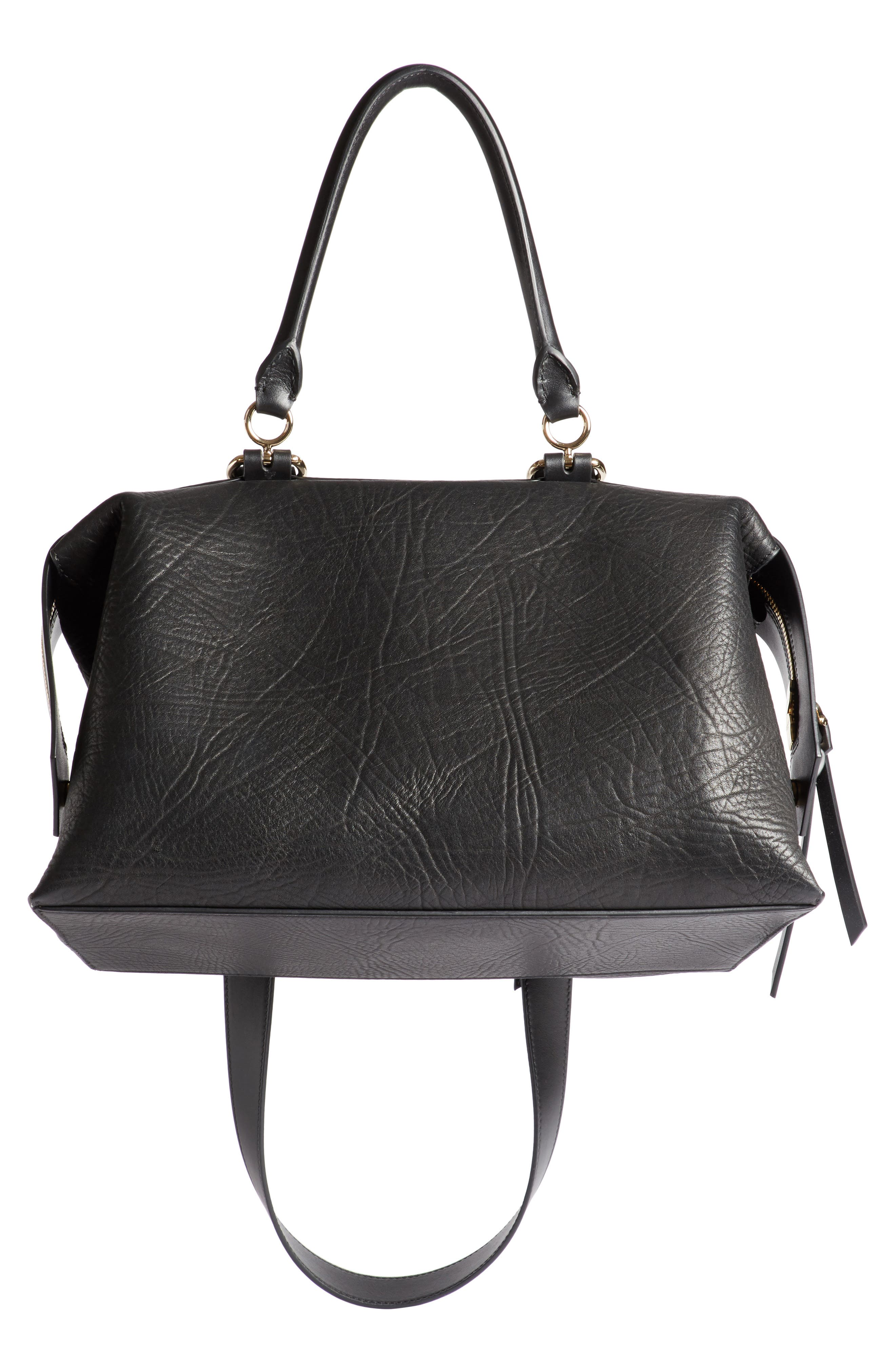 GIVENCHY,                             Medium Sway Leather Satchel,                             Alternate thumbnail 2, color,                             001