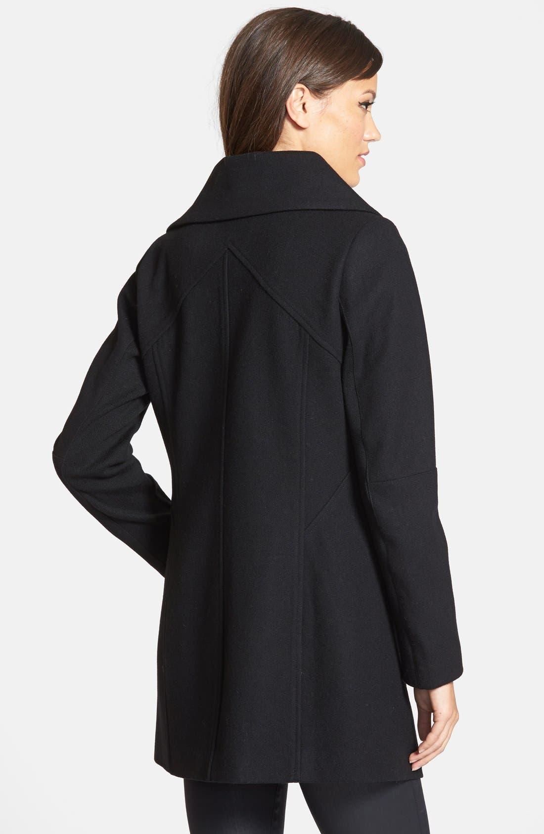 SAM EDELMAN,                             'Fallon' Faux Leather Trim Asymmetrical Wool Blend Coat,                             Alternate thumbnail 2, color,                             001