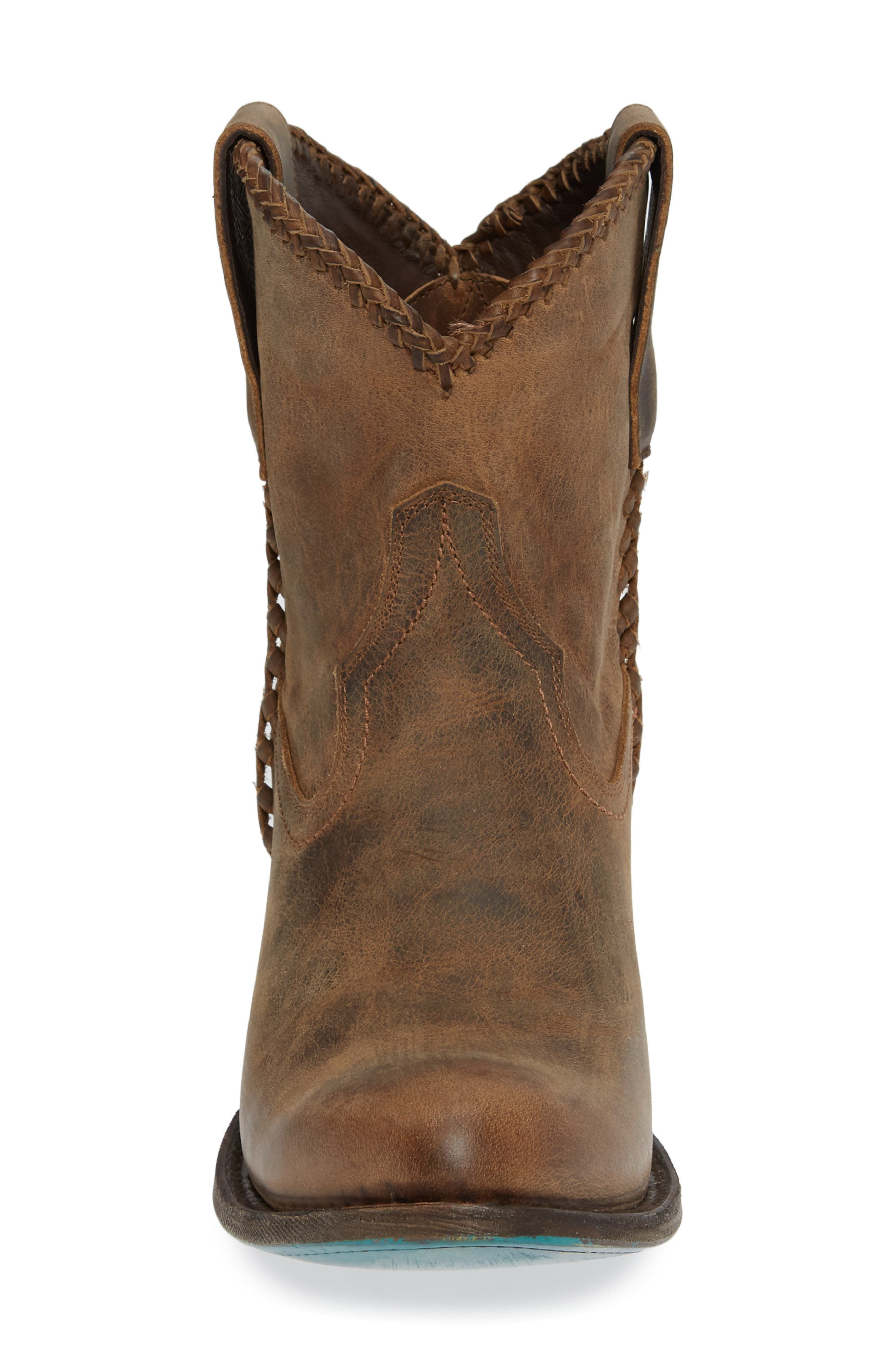 Plain Jane Western Boot,                             Alternate thumbnail 4, color,                             BROWN LEATHER