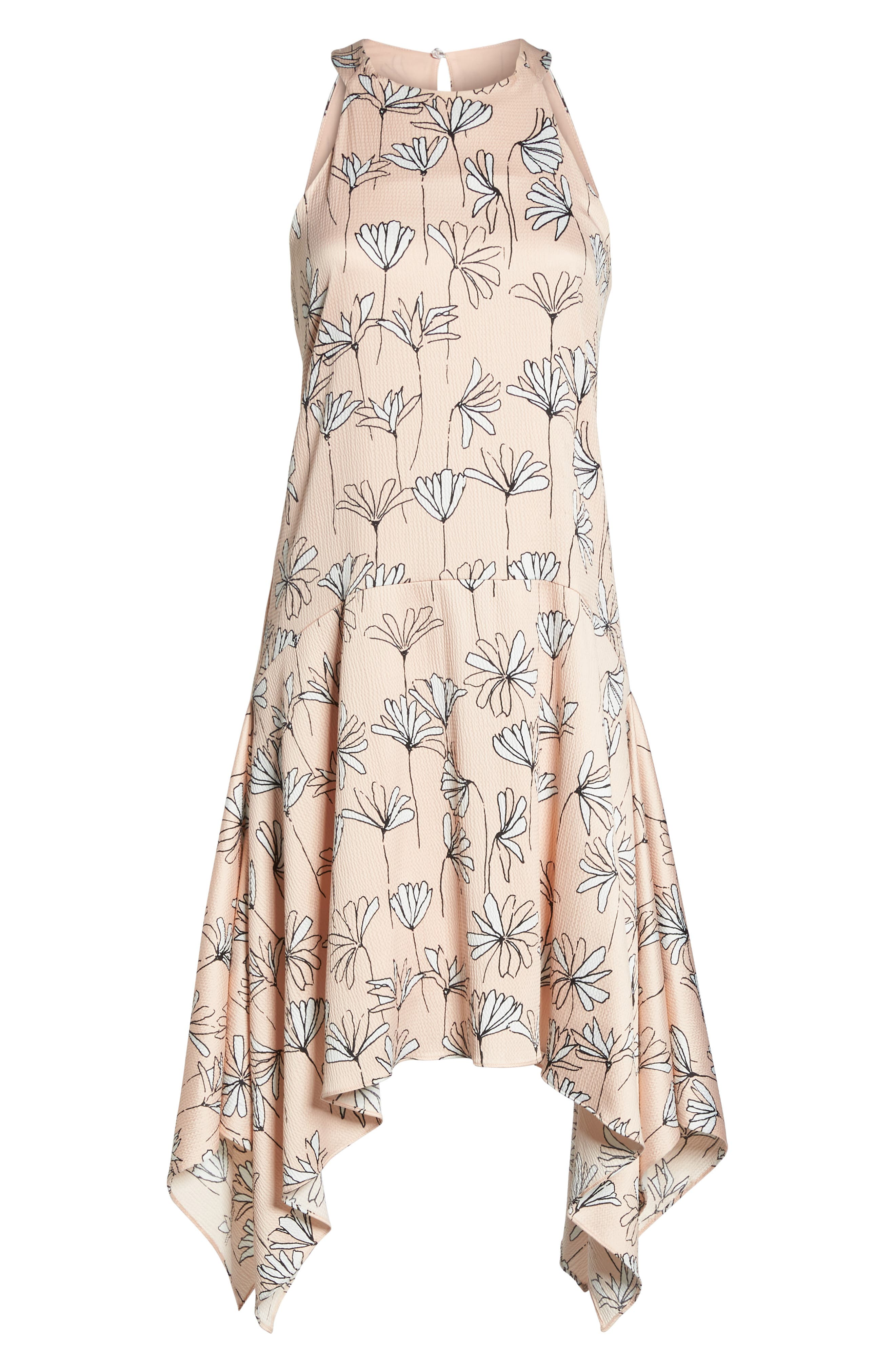 Printed Handkerchief Hem Dress,                             Alternate thumbnail 7, color,                             BLUSH/ SOFT WHITE
