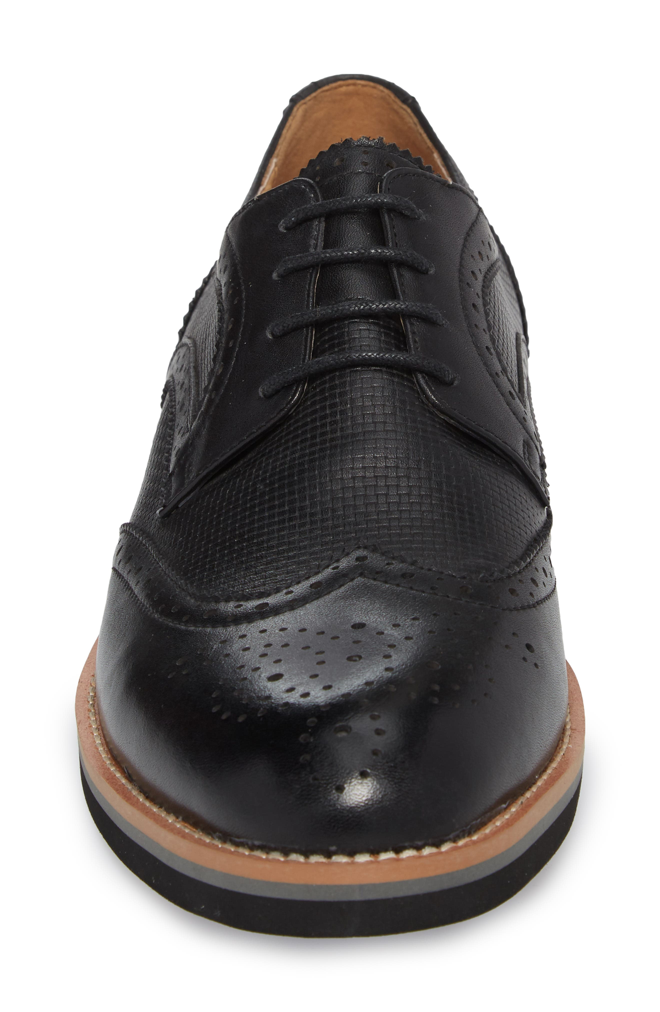 Cleave Embossed Wingtip,                             Alternate thumbnail 4, color,                             BLACK LEATHER