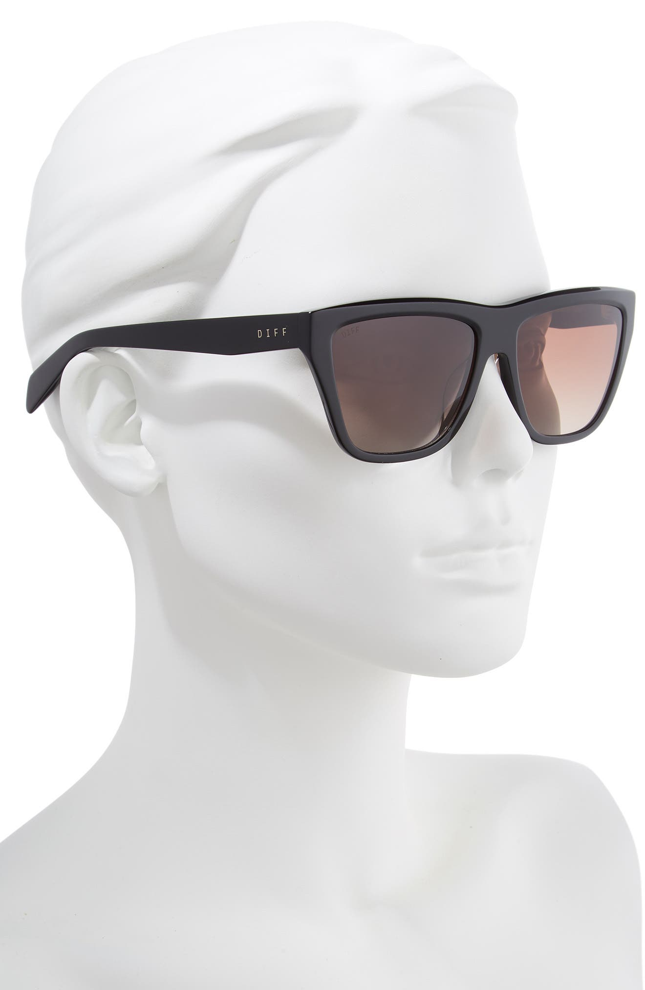 Harper 57mm Polarized Gradient Sunglasses,                             Alternate thumbnail 2, color,                             BLACK/ BROWN