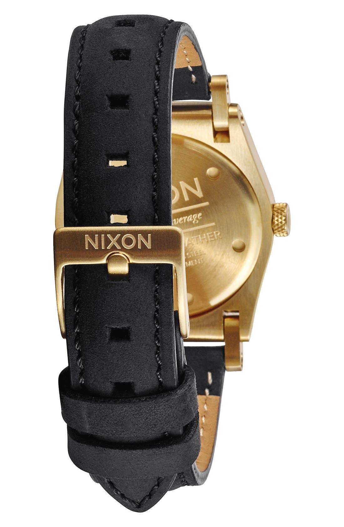 'Jane' Leather Strap Watch, 35mm,                             Alternate thumbnail 2, color,                             BLACK/ WHITE