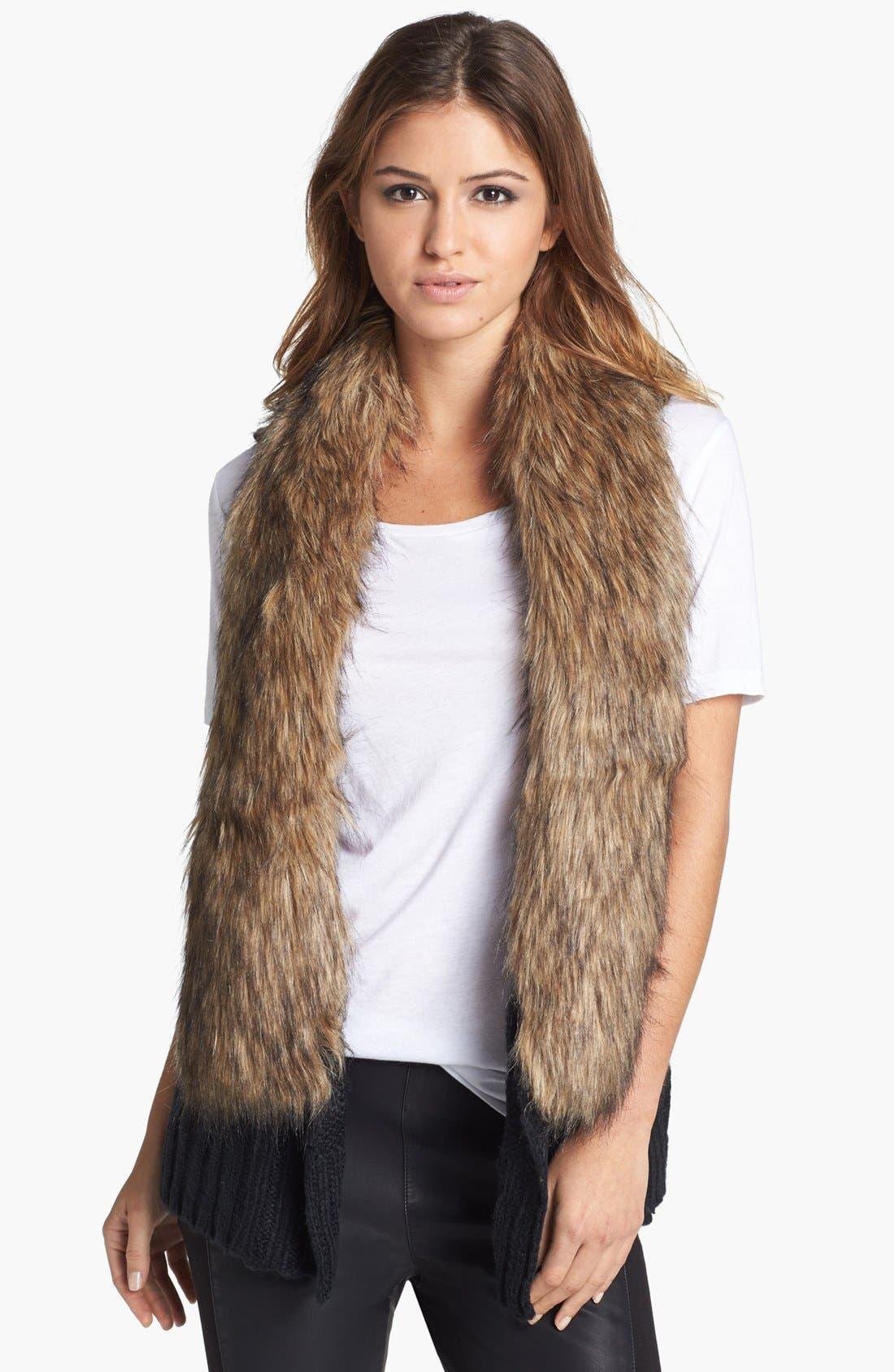 BB DAKOTA,                             'Perri' Faux Fur Collar Knit Vest,                             Main thumbnail 1, color,                             001