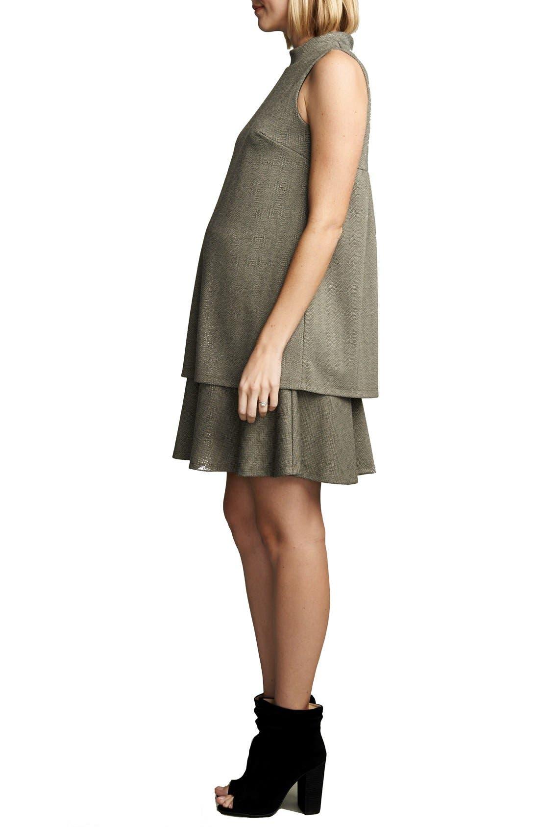 'Lucy' Maternity Dress,                             Alternate thumbnail 2, color,                             HERRINGBONE