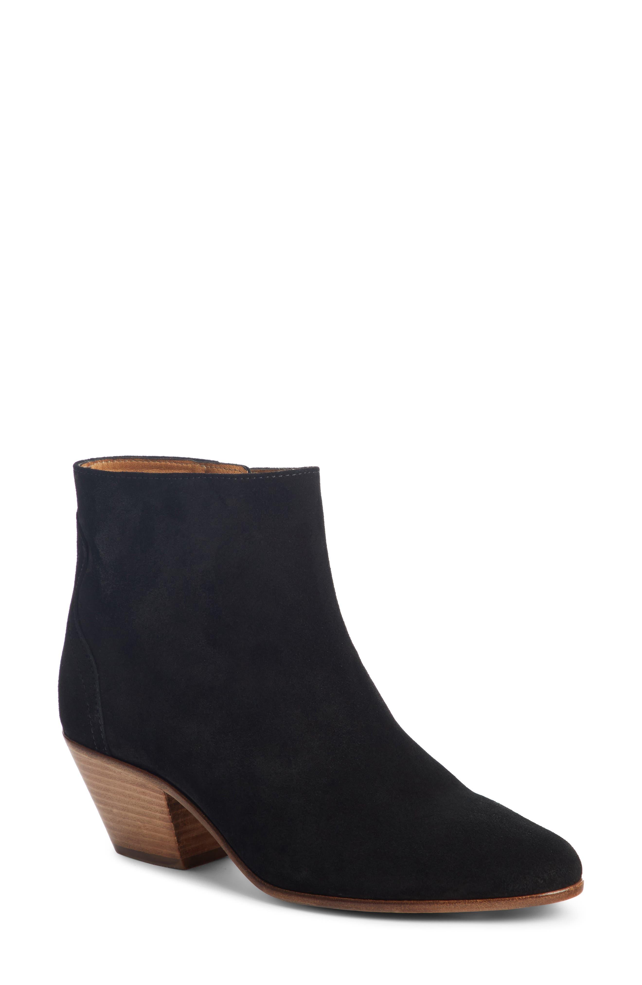 Dacken Stacked Heel Bootie,                         Main,                         color, BLACK
