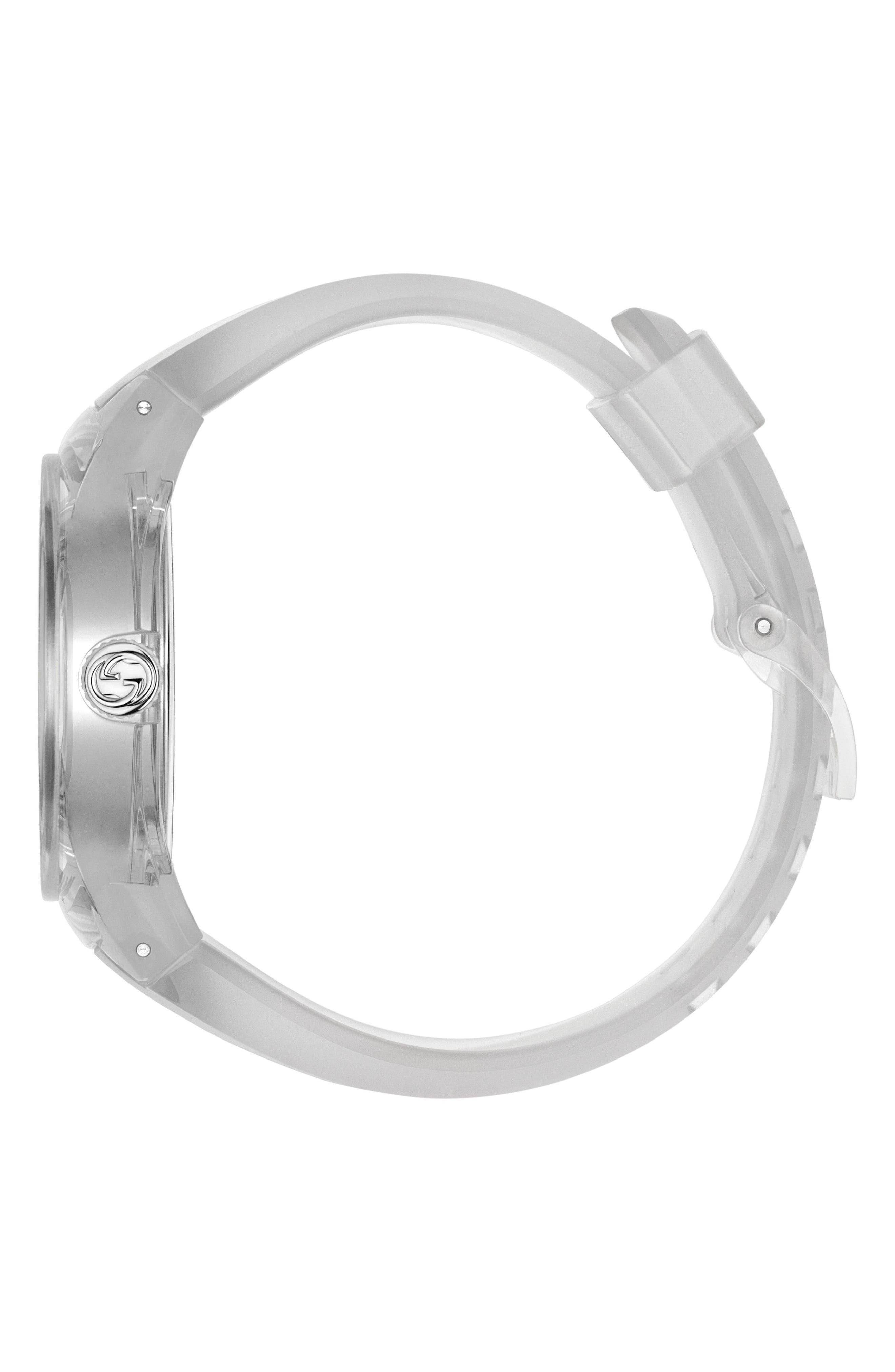 Sync Transparent Rubber Strap Watch, 46mm,                             Alternate thumbnail 3, color,                             WHITE