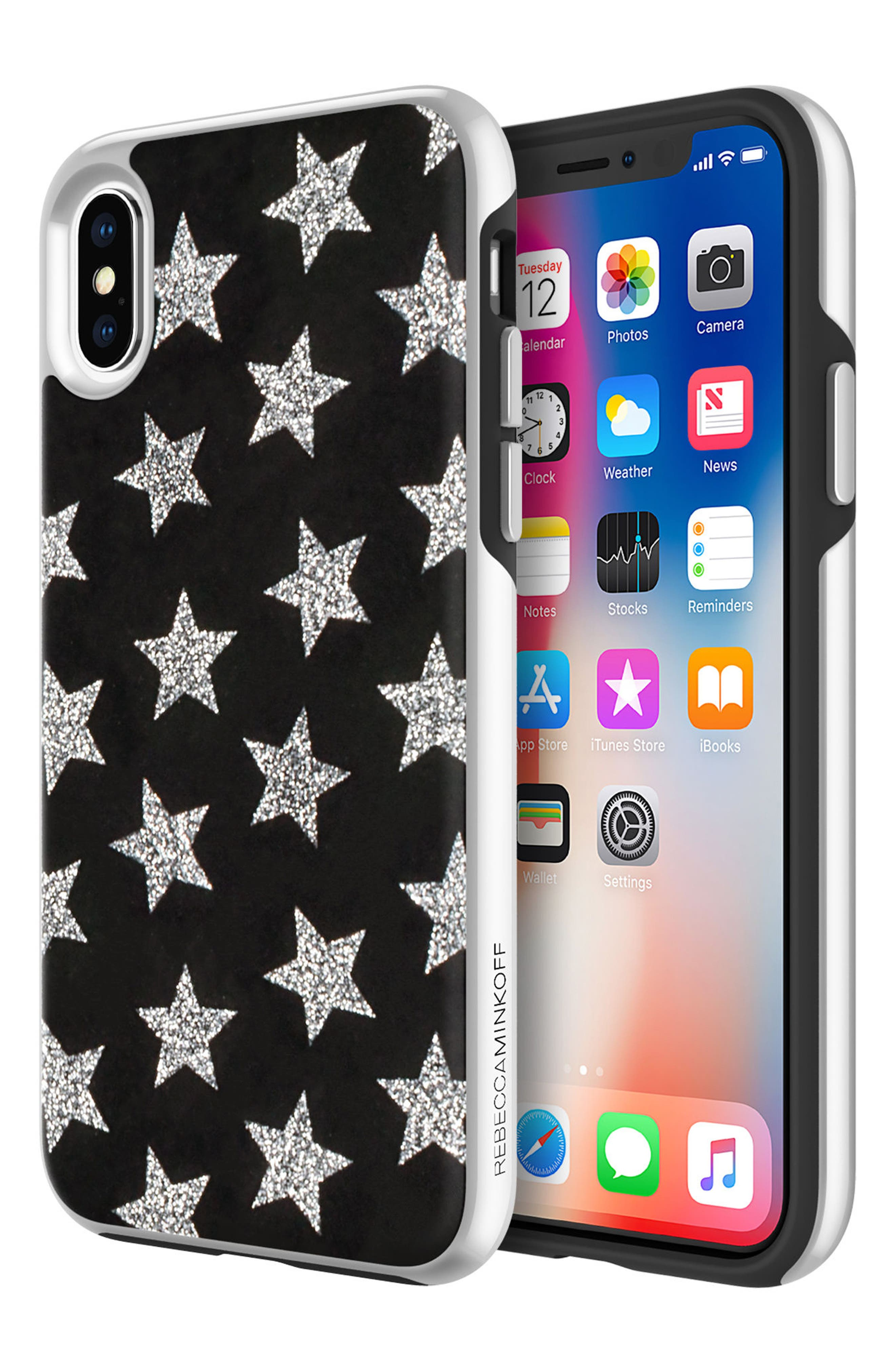 REBECCA MINKOFF,                             Glitterfall iPhone 8 Plus Case,                             Alternate thumbnail 6, color,                             001