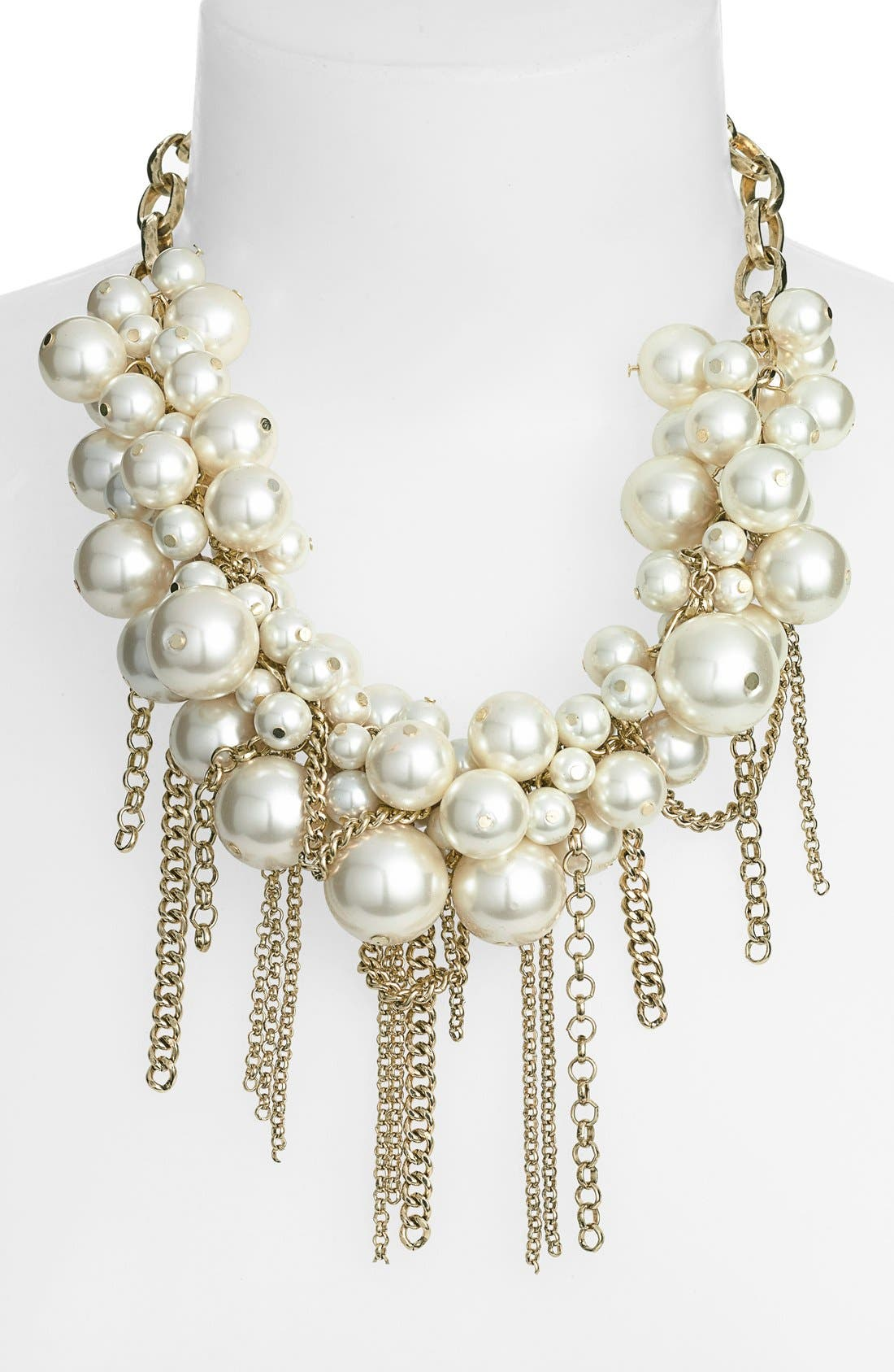 Fringed Faux Pearl Statement Necklace,                             Alternate thumbnail 2, color,                             130