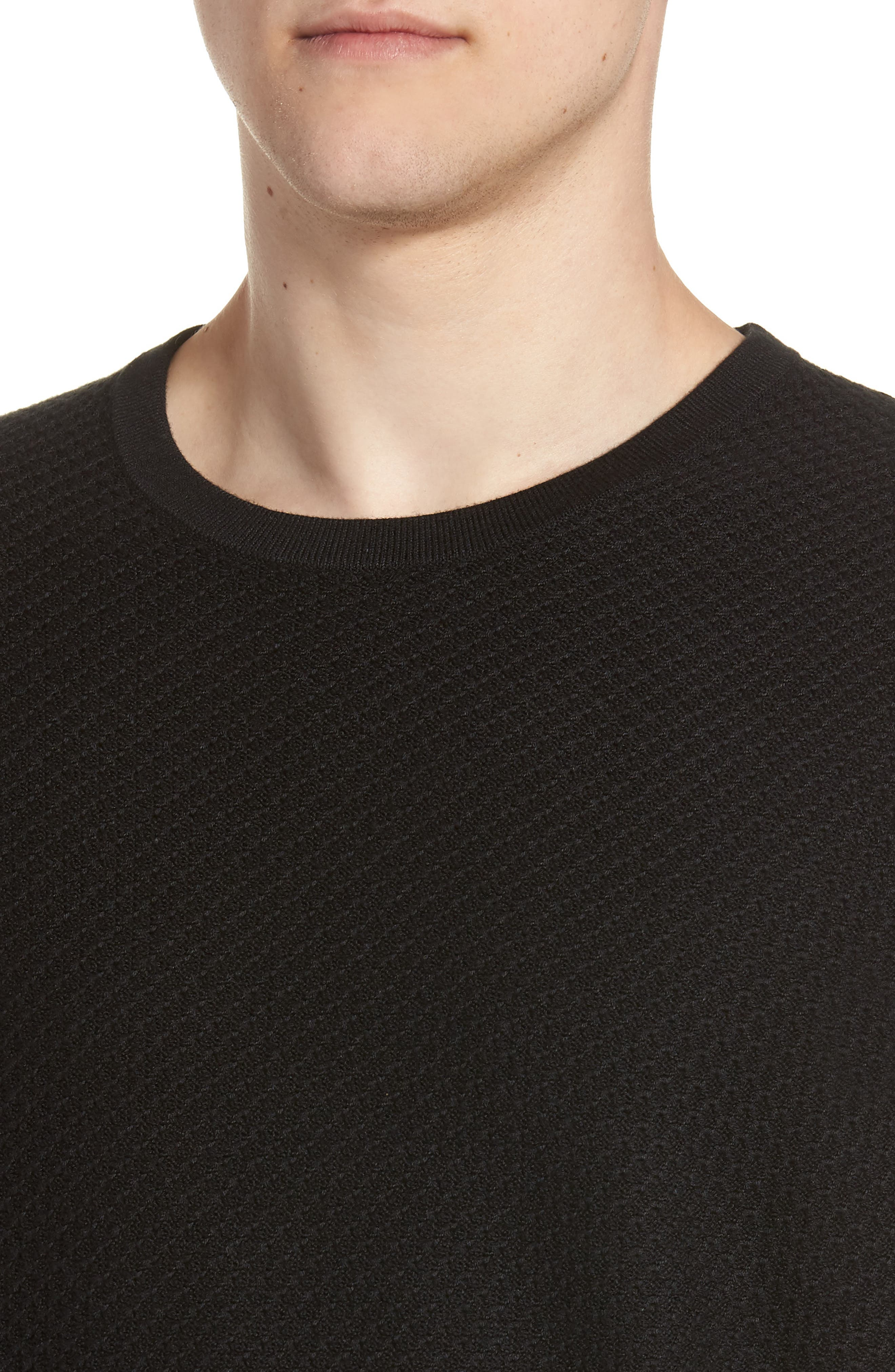 Honeycomb Crewneck Sweater,                             Alternate thumbnail 4, color,                             001