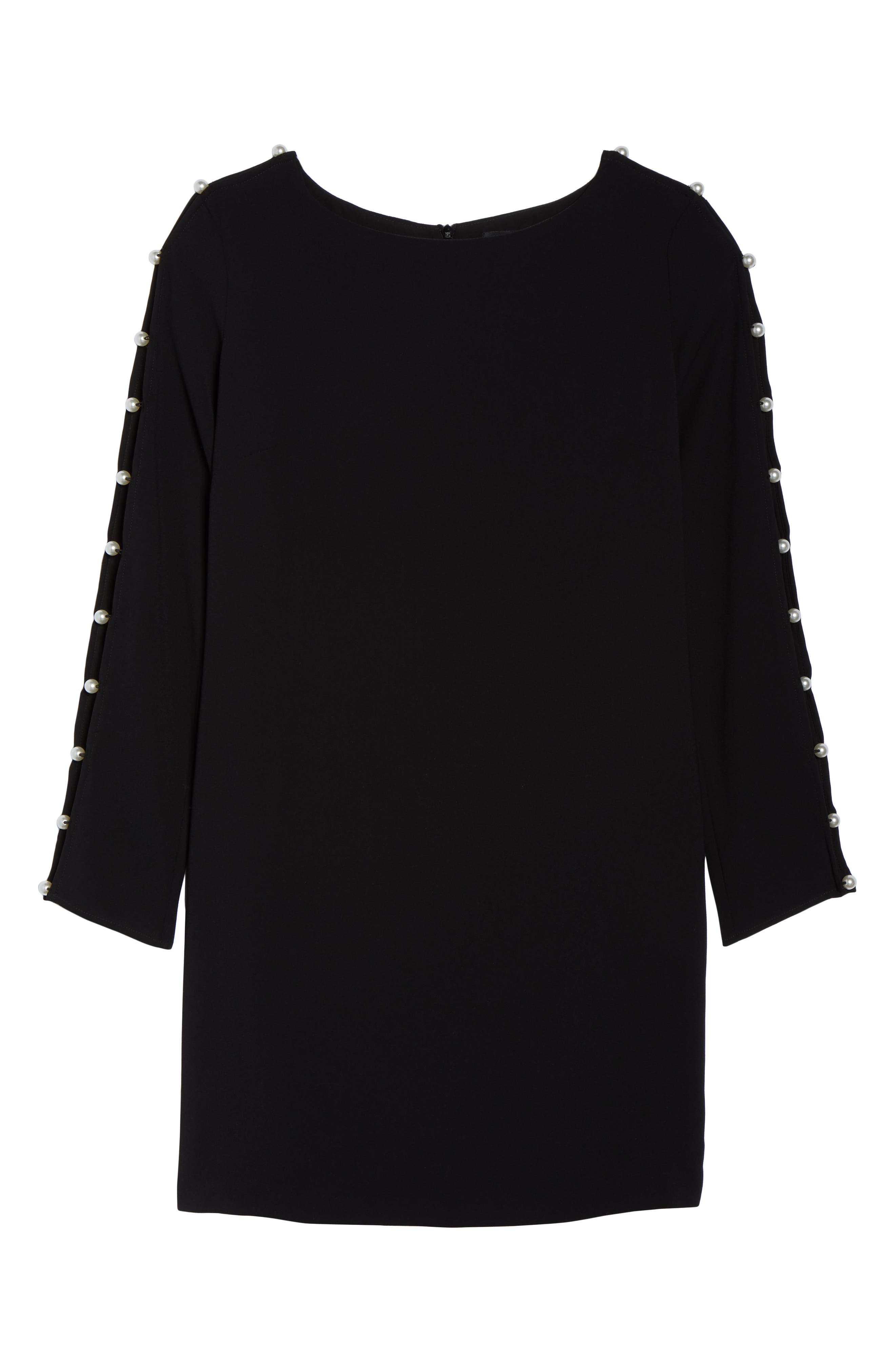 Beaded Sleeve Shift Dress,                             Alternate thumbnail 7, color,                             BLACK