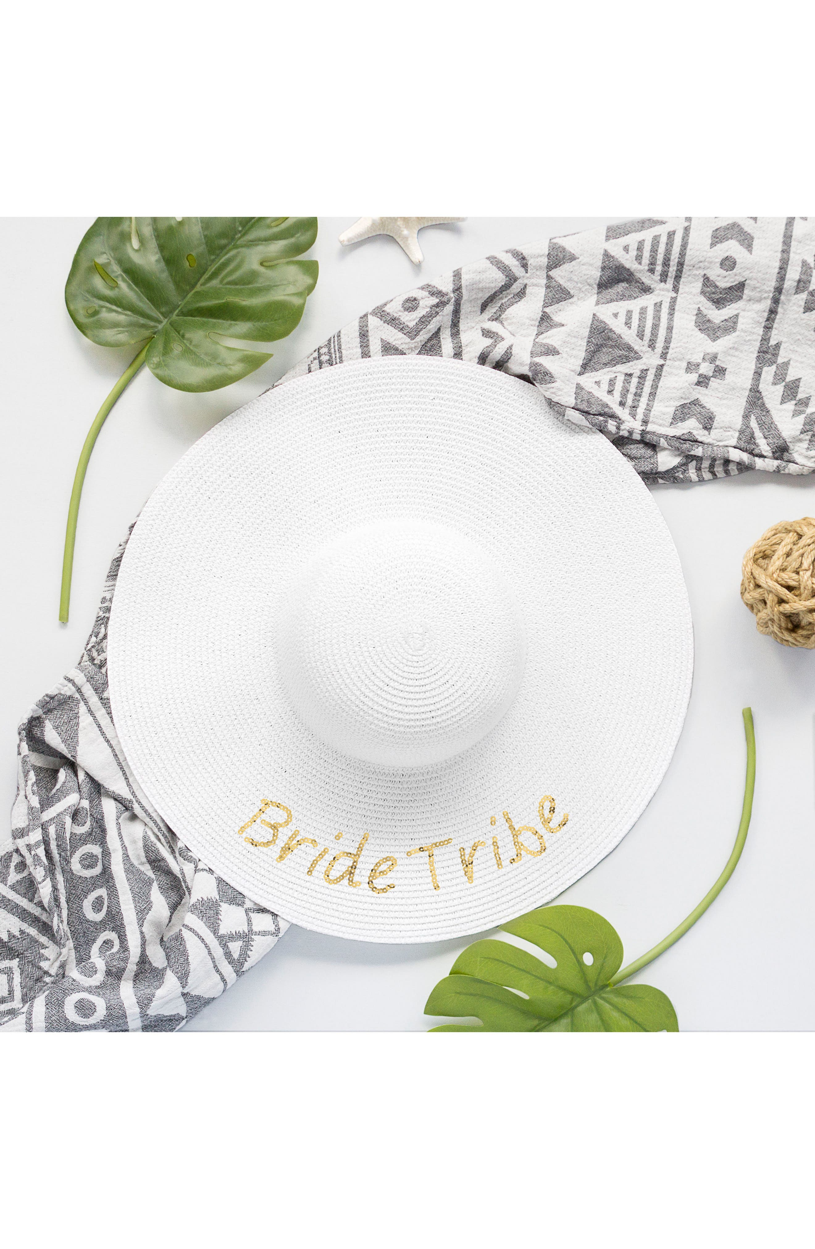Sequin Bride Tribe Straw Hat,                             Alternate thumbnail 2, color,