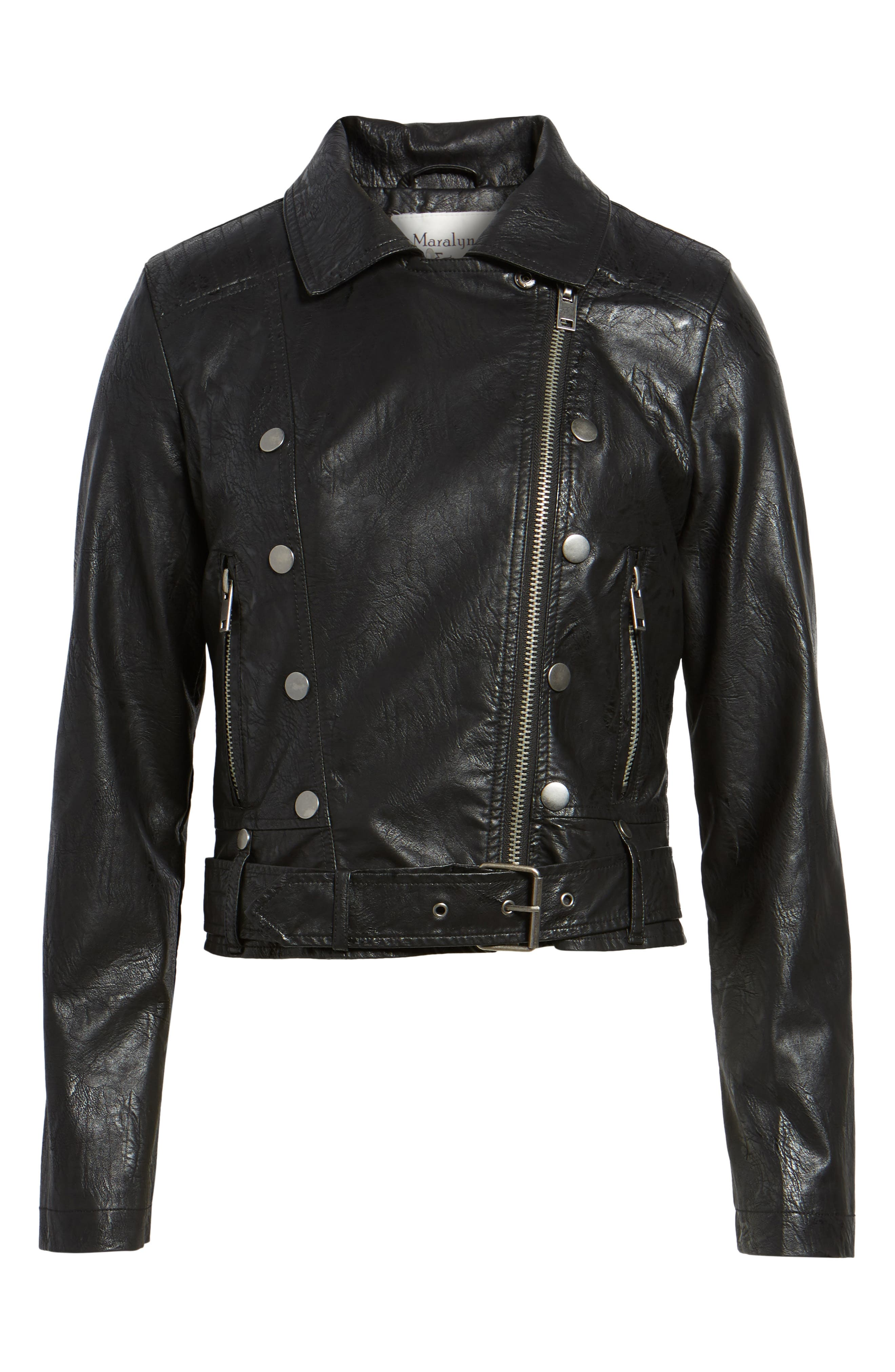 Textured Faux Leather Jacket,                             Alternate thumbnail 5, color,
