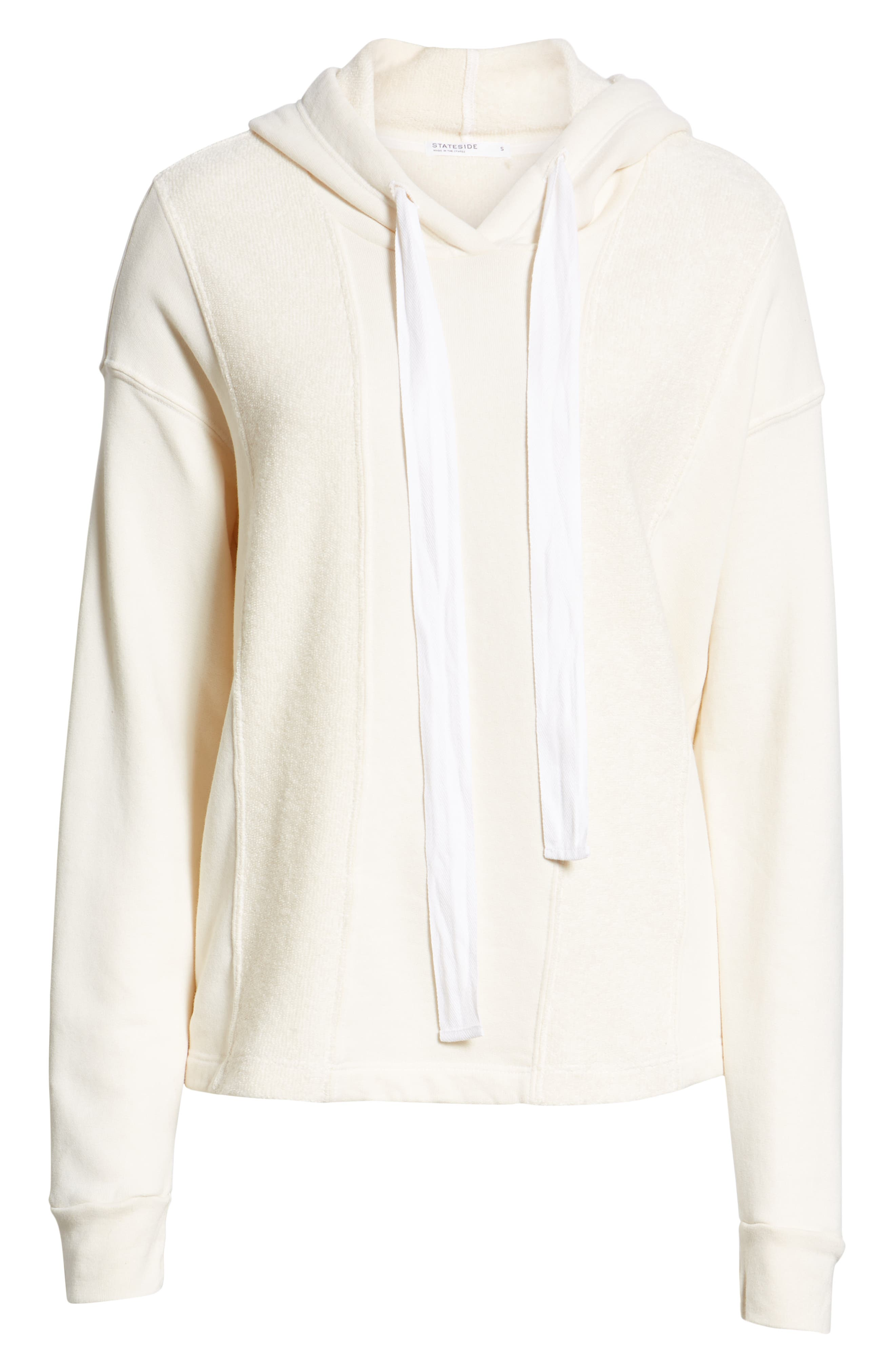 French Terry Hoodie,                             Alternate thumbnail 6, color,                             CREAM