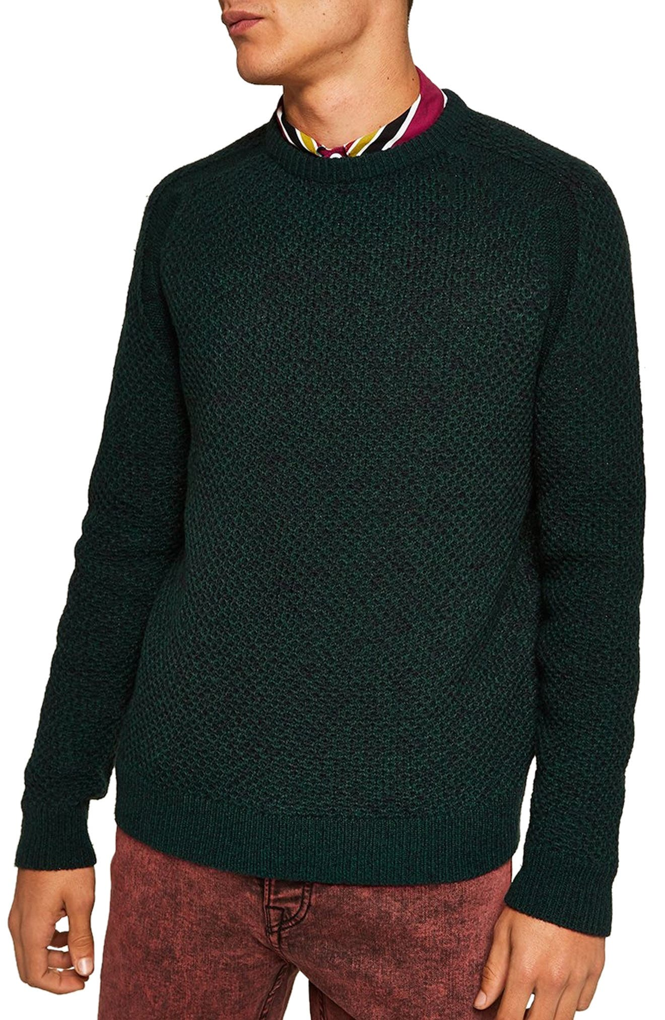 Honeycomb Classic Fit Crewneck Sweater,                             Main thumbnail 1, color,                             GREEN MULTI