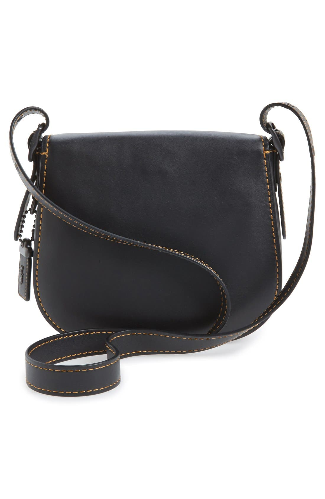 '23' Leather Saddle Bag,                             Alternate thumbnail 3, color,                             001