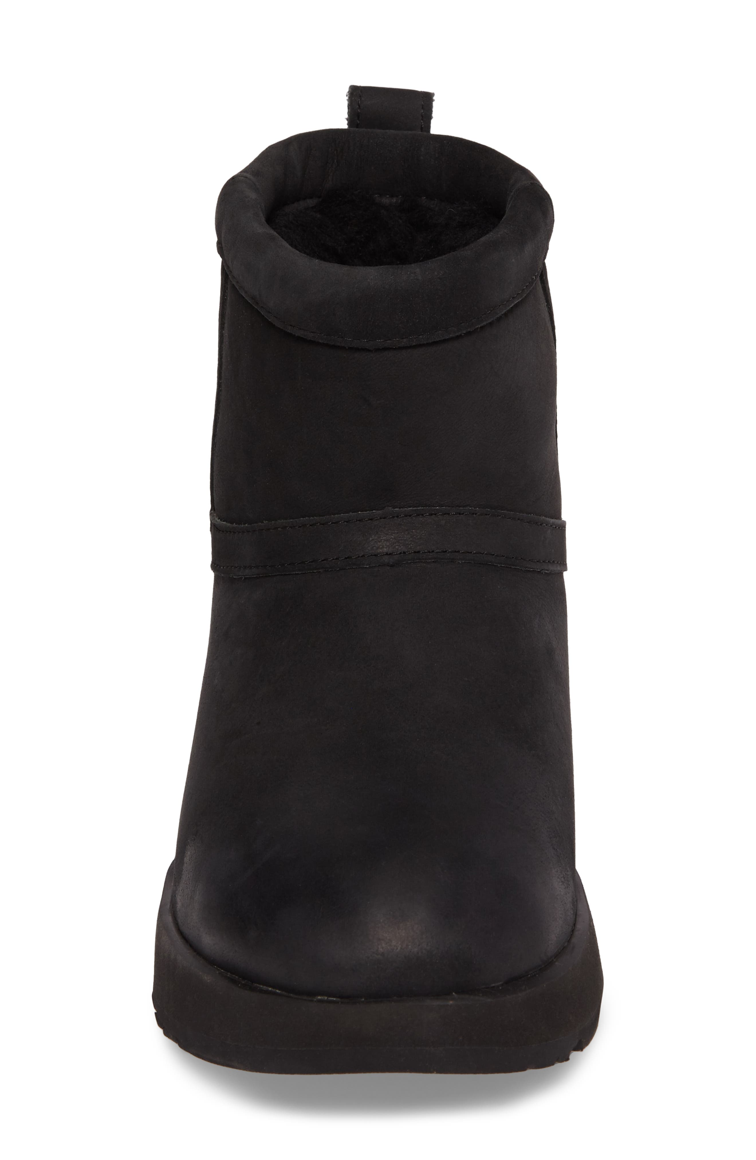 Classic Mini Genuine Shearling Lined Waterproof Boot,                             Alternate thumbnail 4, color,                             BLACK LEATHER