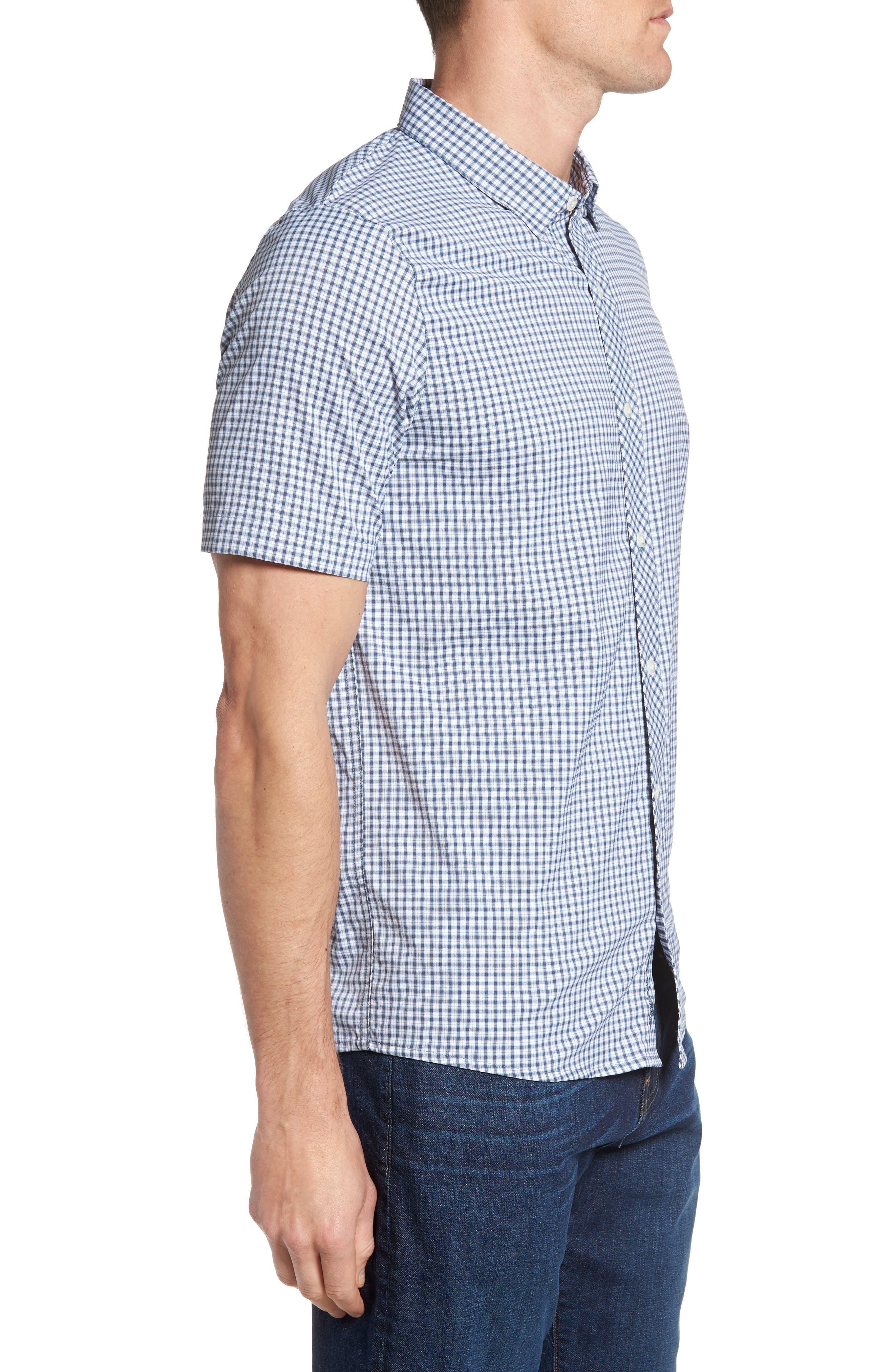 Barker Trim Fit Plaid Sport Shirt,                             Alternate thumbnail 3, color,                             400