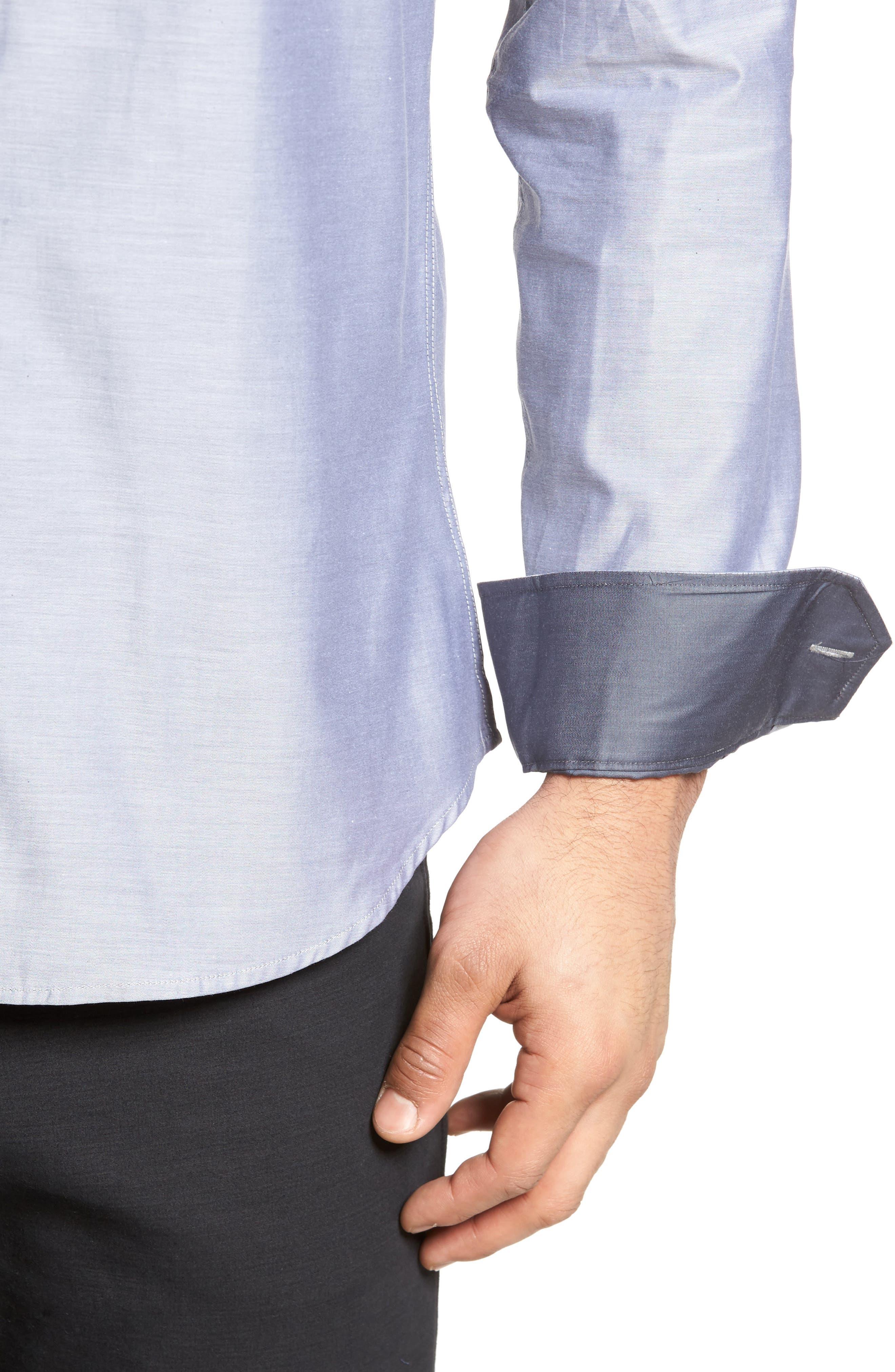 Trim Fit Solid Sport Shirt,                             Alternate thumbnail 4, color,                             020