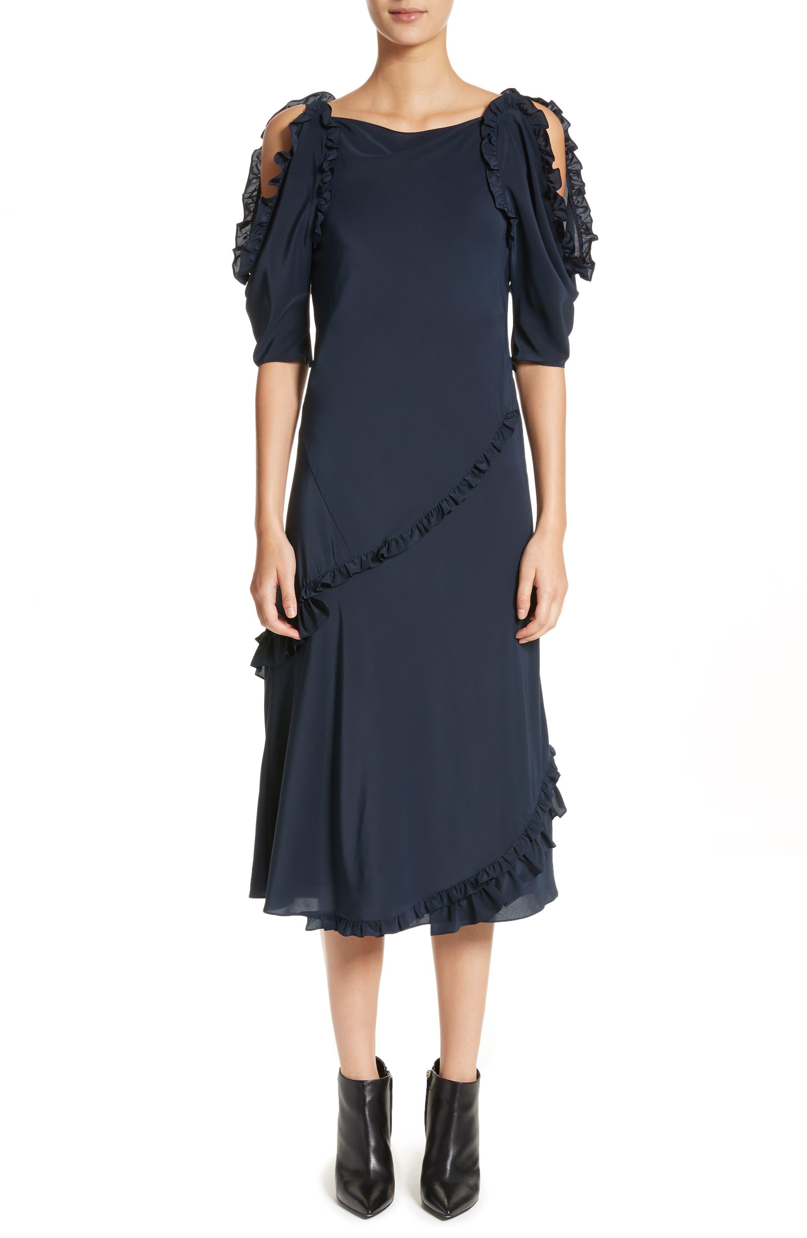 Didi Ruffle Silk Dress,                         Main,                         color, 410