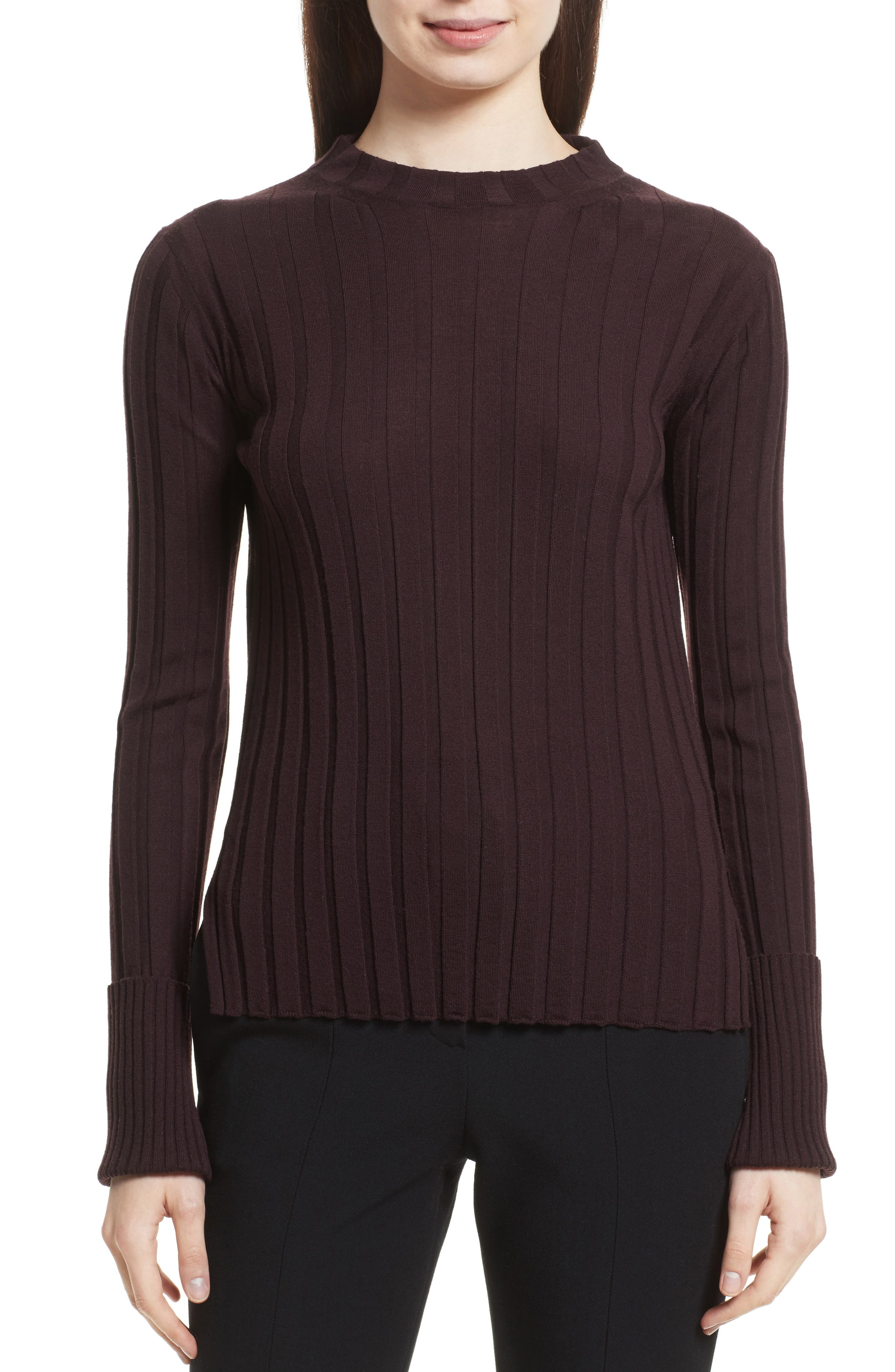 Wide Ribbed Mock Neck Wool Sweater,                             Main thumbnail 3, color,