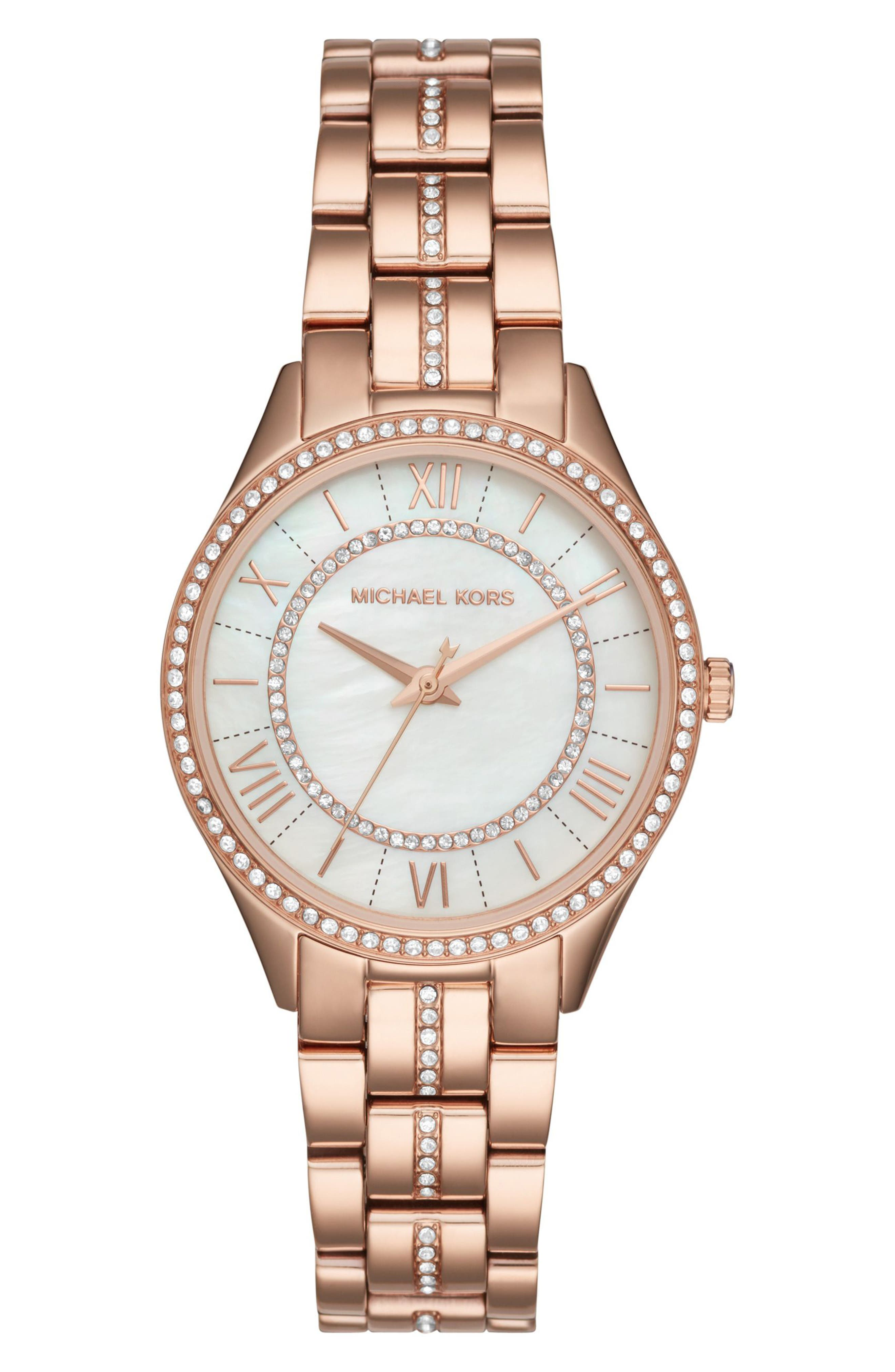 Lauryn Crystal Bracelet Watch, 33mm,                         Main,                         color, ROSE GOLD/ WHITE/ ROSE GOLD