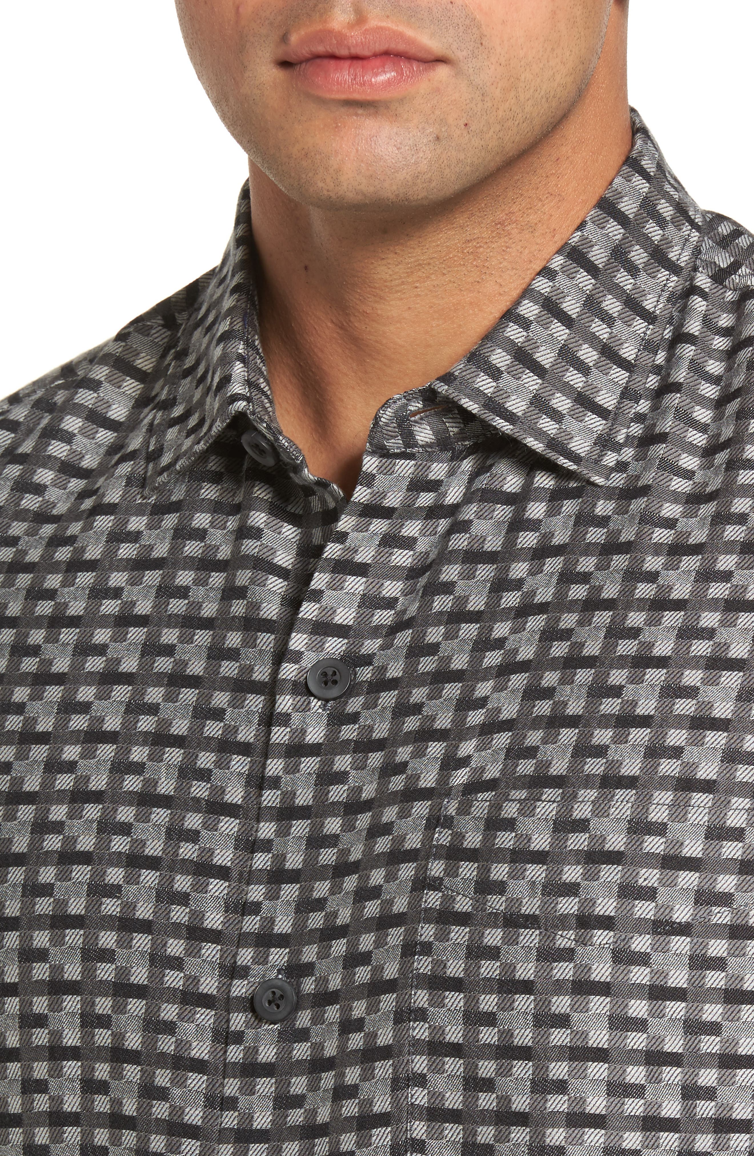Moroccan Squares Standard Fit Silk Blend Camp Shirt,                             Alternate thumbnail 7, color,