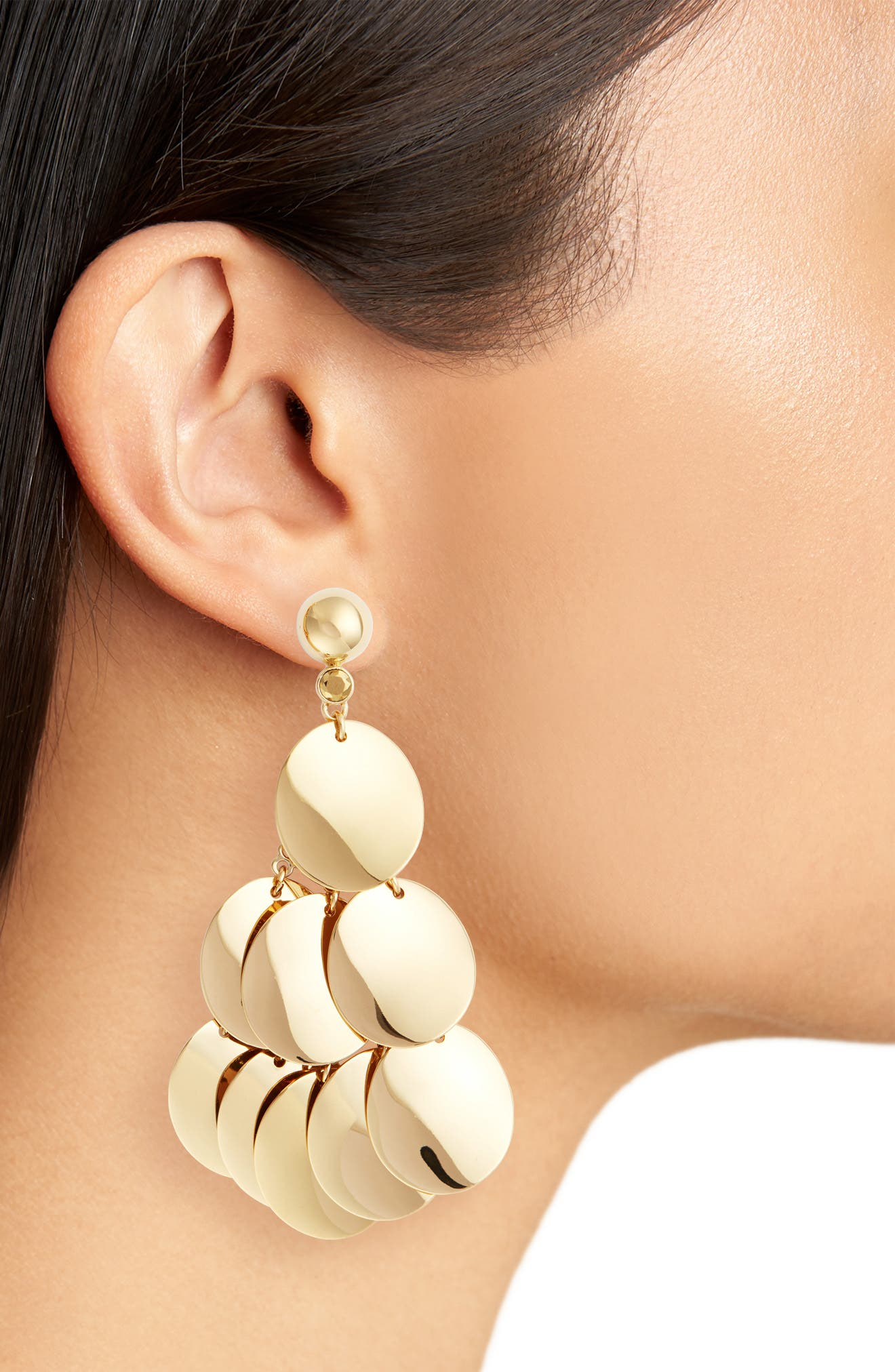 gold standard statement earrings,                             Alternate thumbnail 2, color,