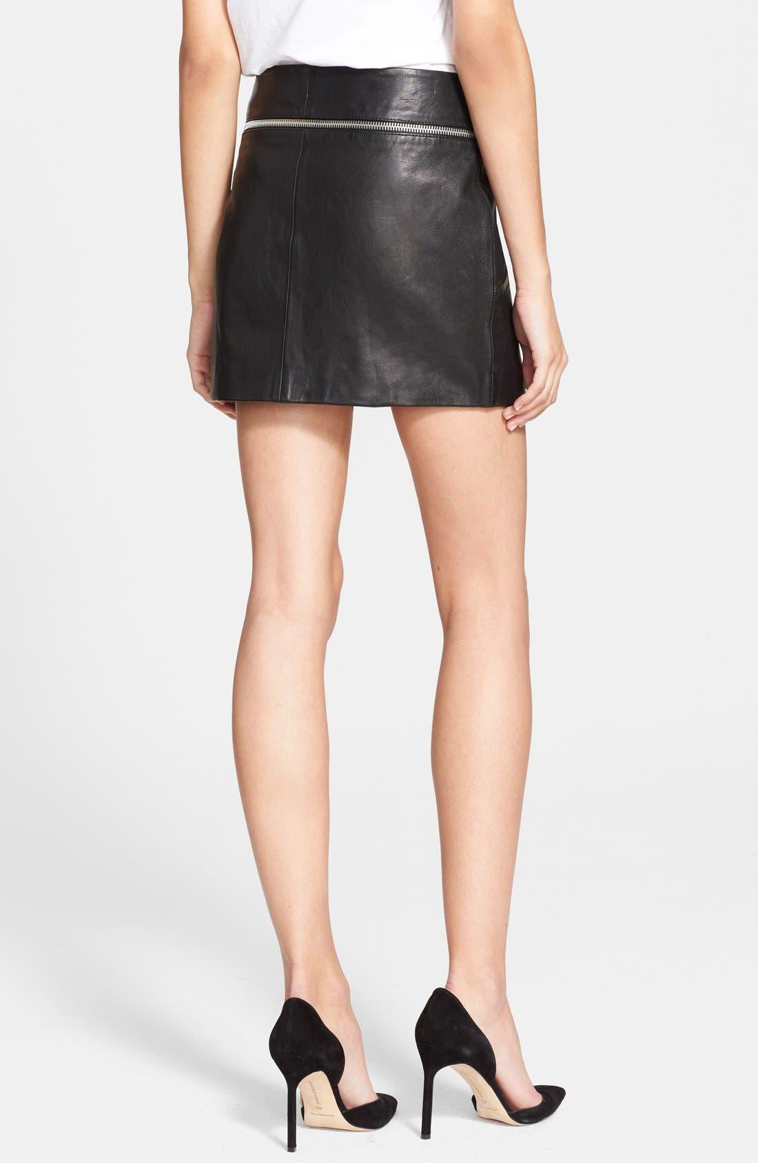 Leather Moto Miniskirt,                             Alternate thumbnail 3, color,                             001