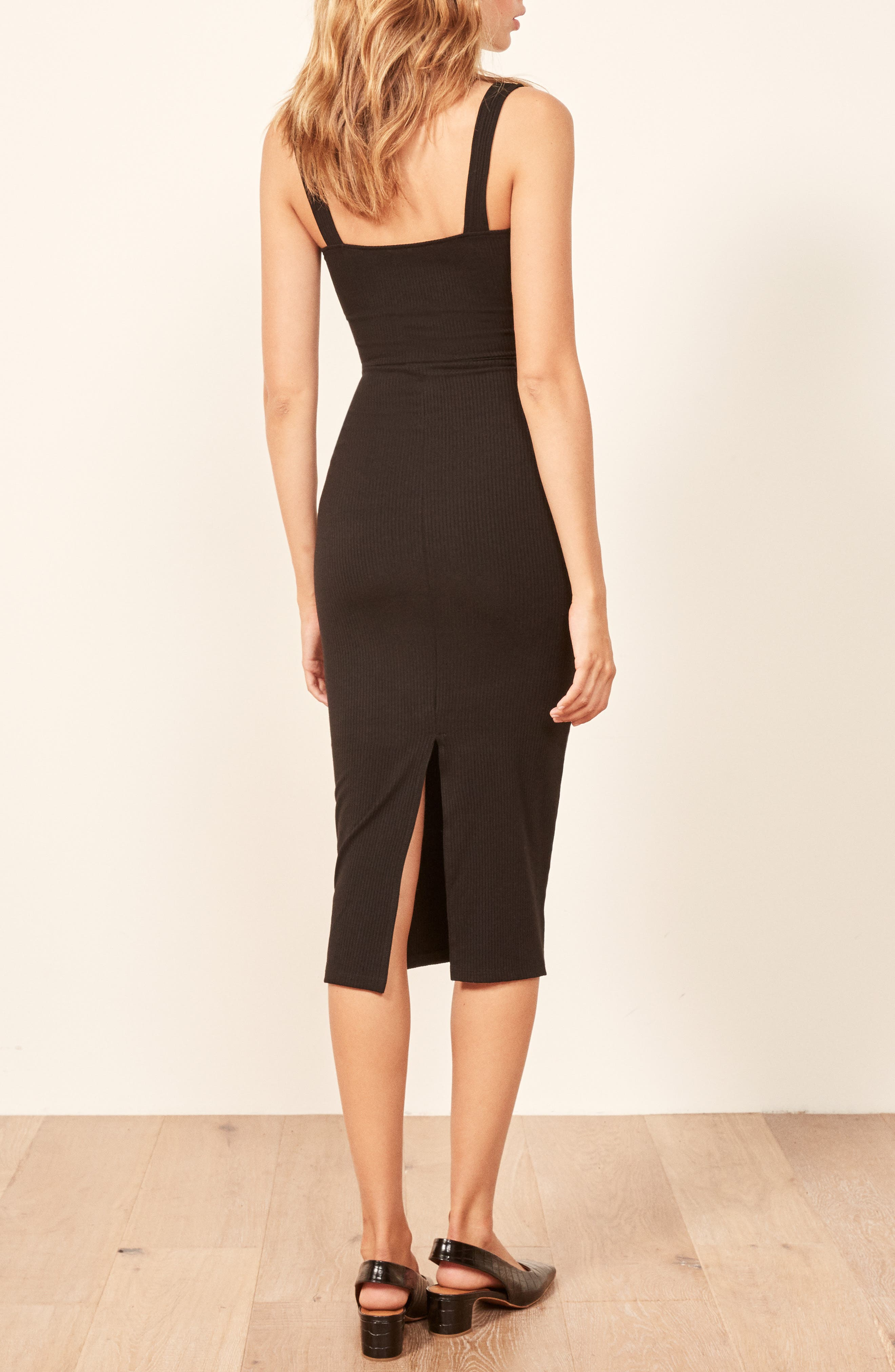 REFORMATION,                             Adrian Sweetheart Neck Body-Con Dress,                             Alternate thumbnail 3, color,                             001