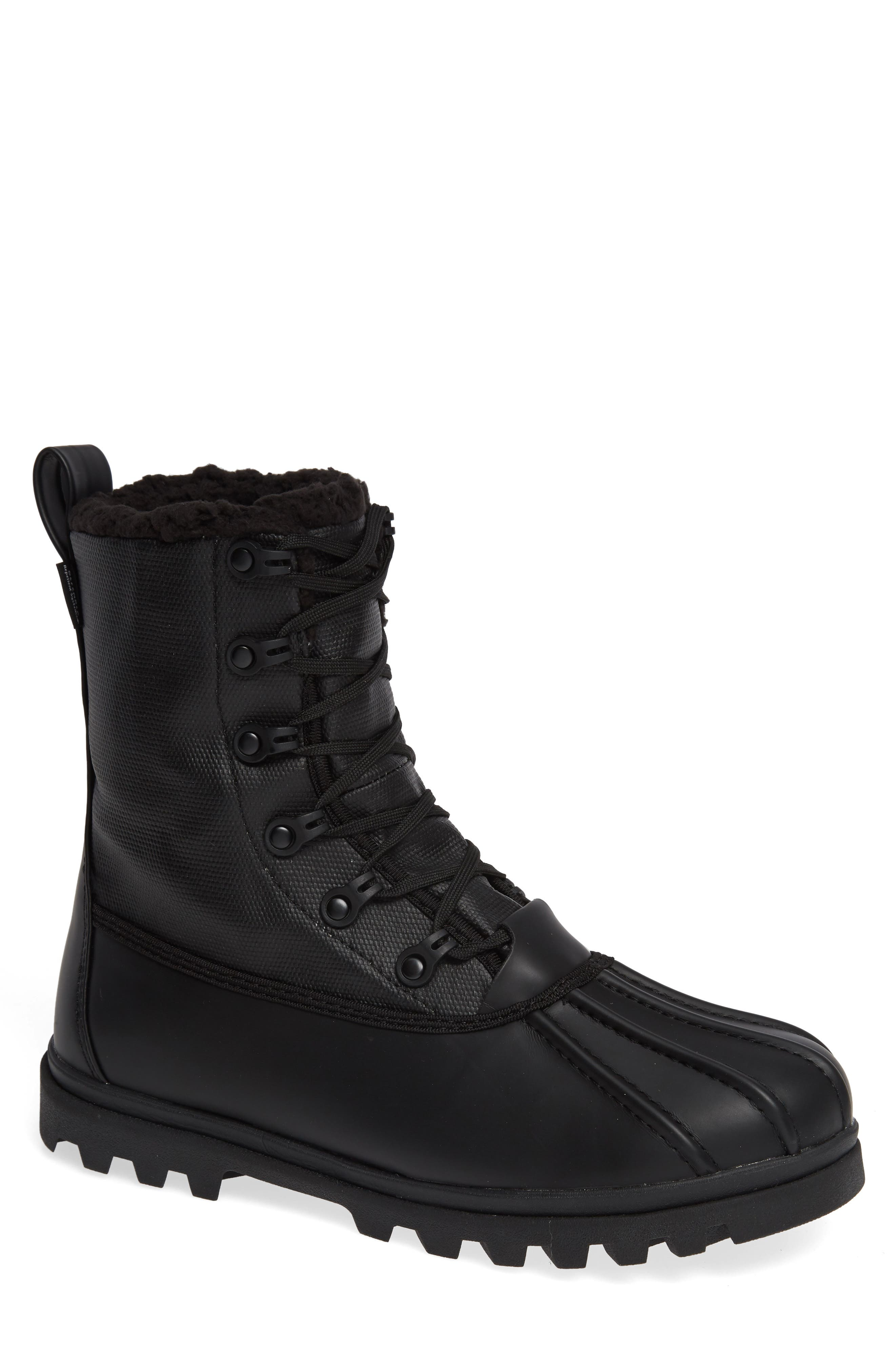 Native Jimmy Treklite Water Repellent Boot with Faux Shearling Liner,                             Main thumbnail 1, color,                             JIFFY BLACK/ JIFFY BLACK