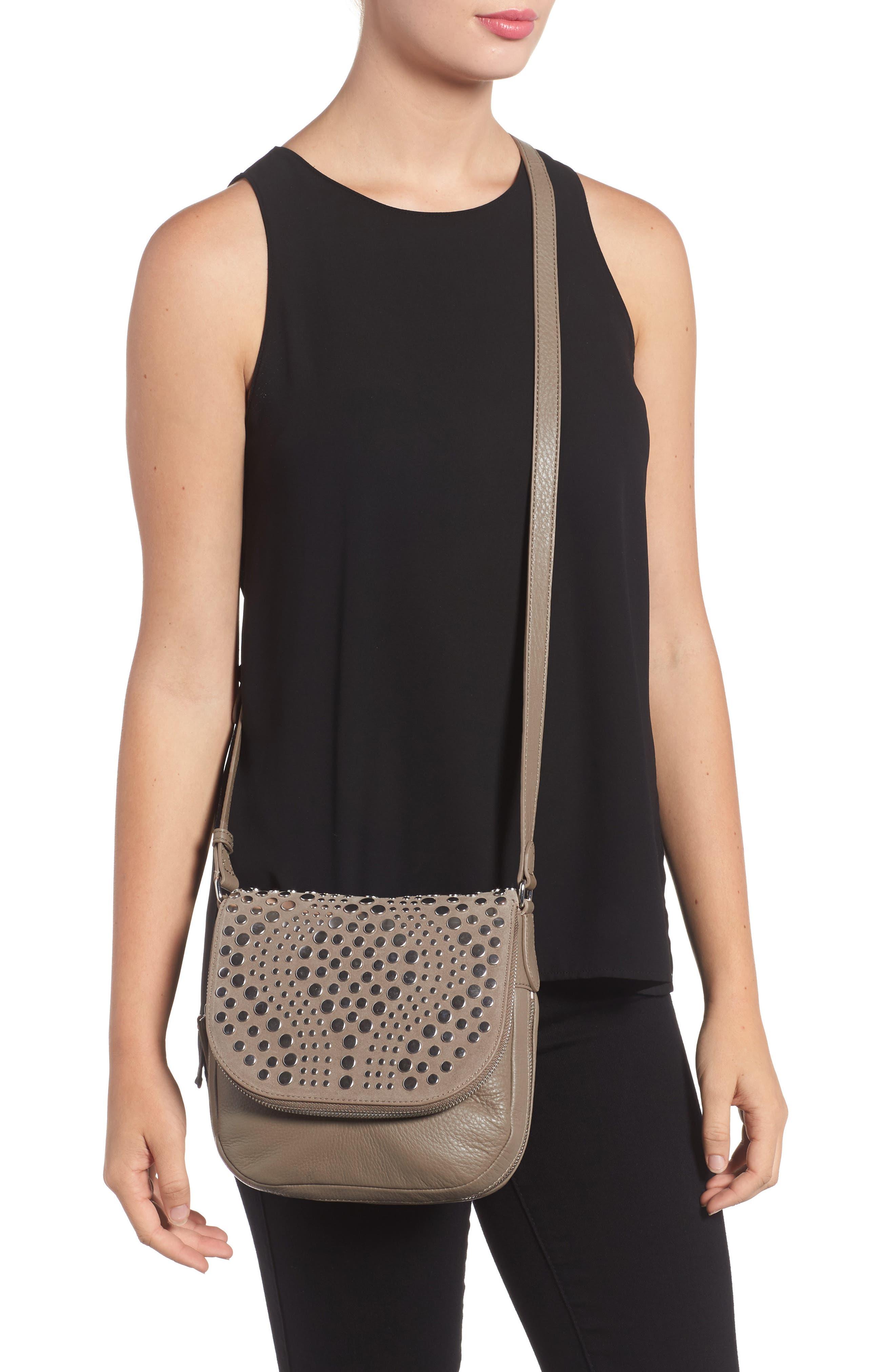 Bonny Studded Leather Crossbody Bag,                             Alternate thumbnail 4, color,