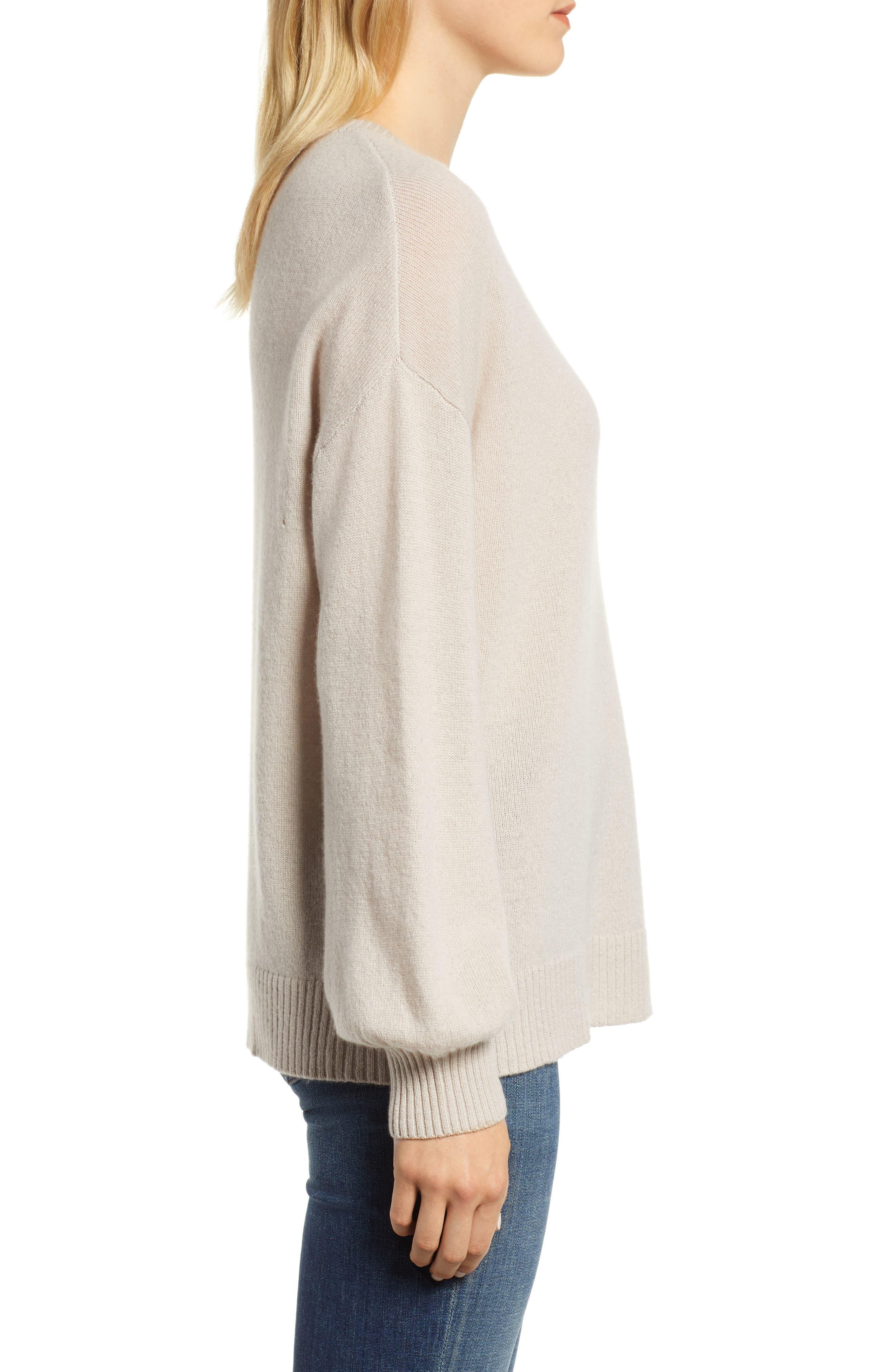 Blouson Sleeve Cashmere Sweater,                             Alternate thumbnail 3, color,                             MUSHROOM